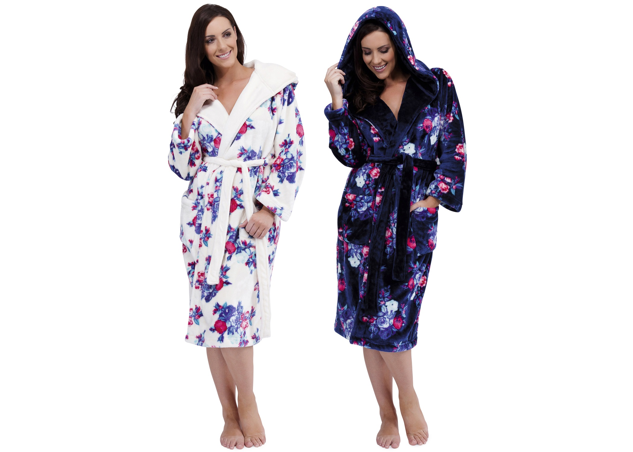 Womens Luxury Soft Fleece Long Robes Dressing Gown Housecoat ...