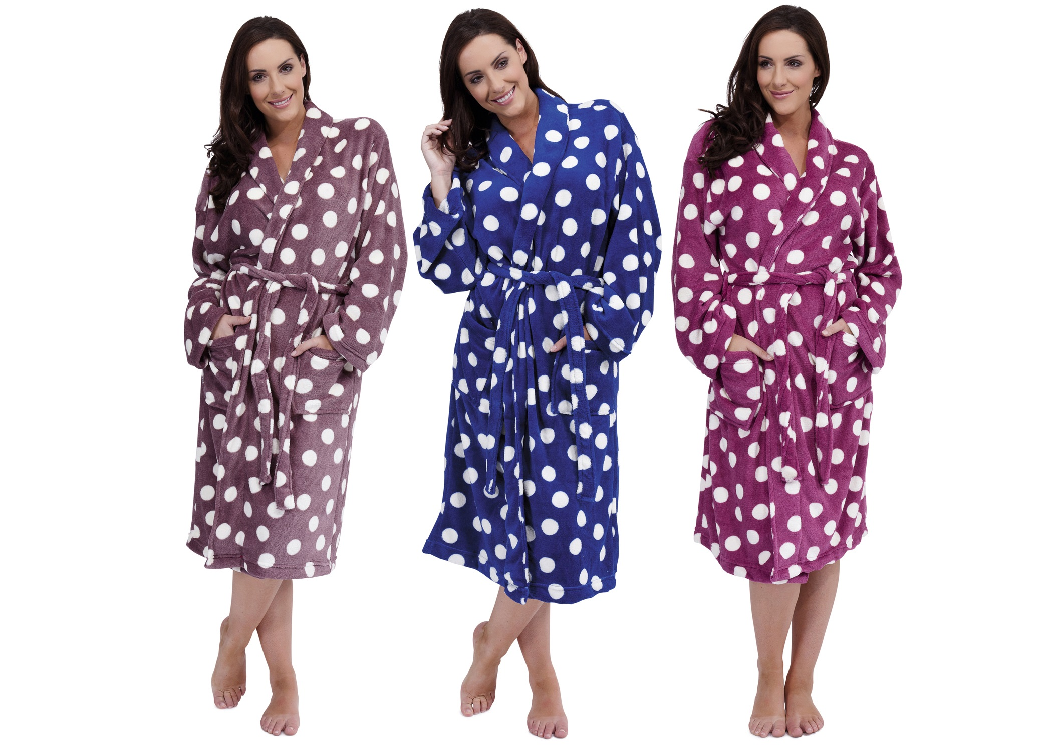 Ladies Long Luxury Coral Fleece Dressing Gowns Bath Robes Womens ...