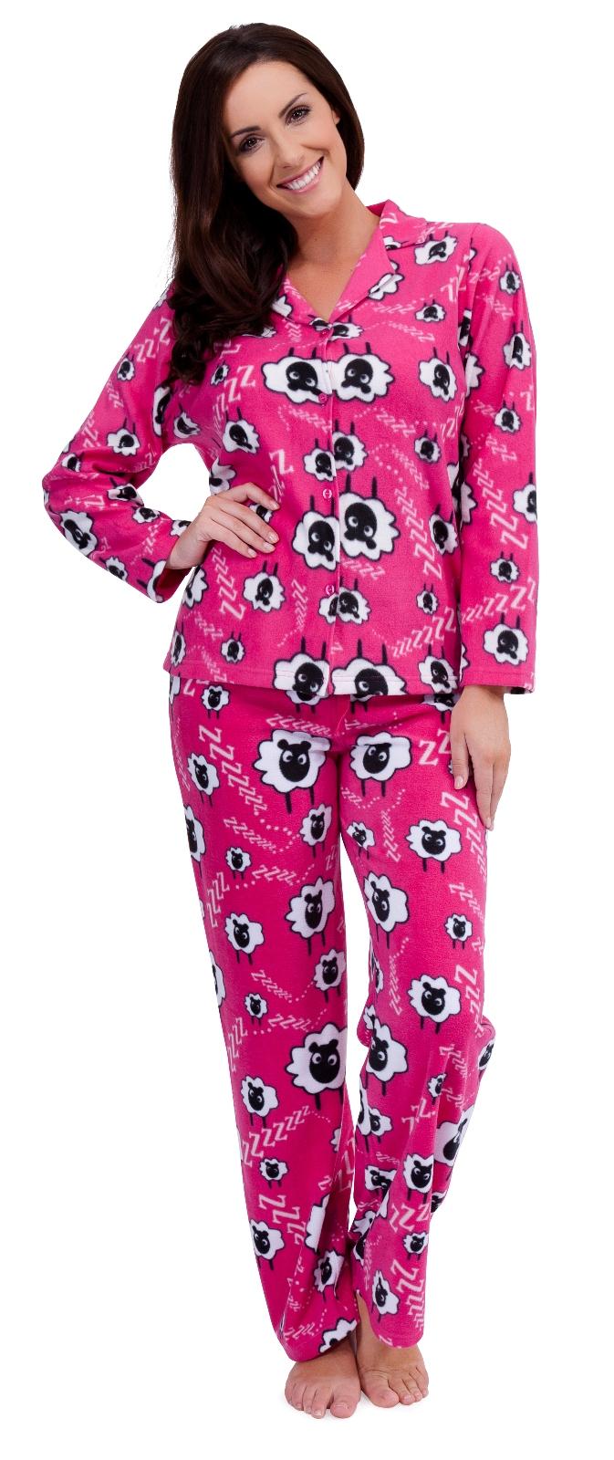 Womens Luxury Full Length Fleece Pyjamas Animal Sheep Pjs