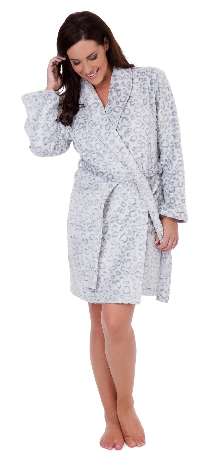 Womens Luxury Leopard Nightwear Range Robe Dressing Gown Pyjamas Pjs ...