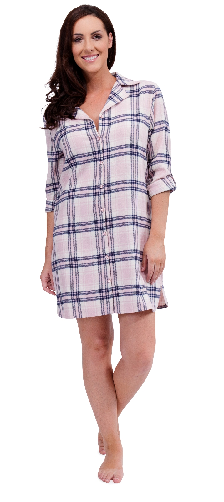 womens 100 cotton nightdress check nightshirt nighty. Black Bedroom Furniture Sets. Home Design Ideas