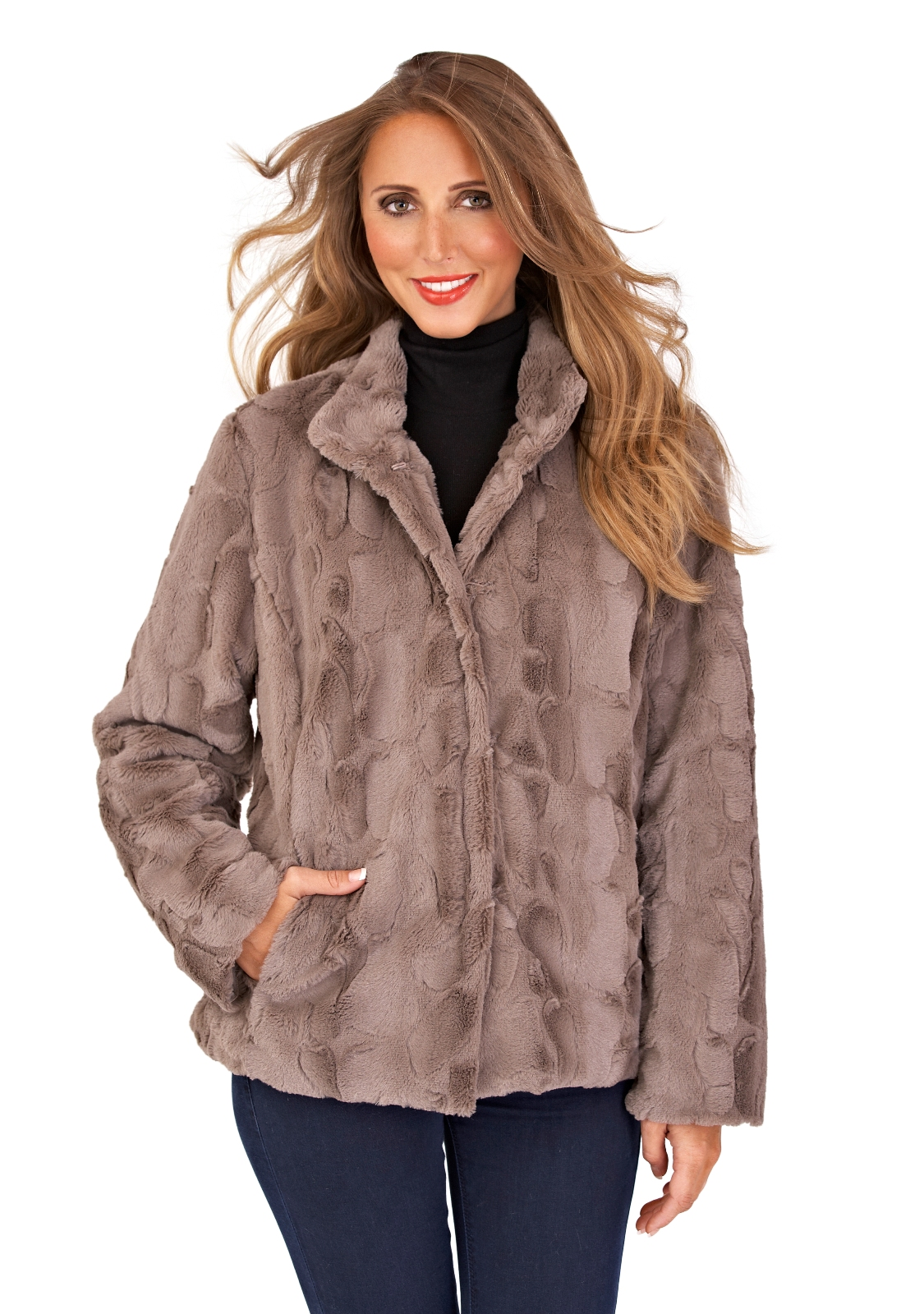 Womens Ladies Full Faux Fur Coat Short Mid Length Jacket Warm ...