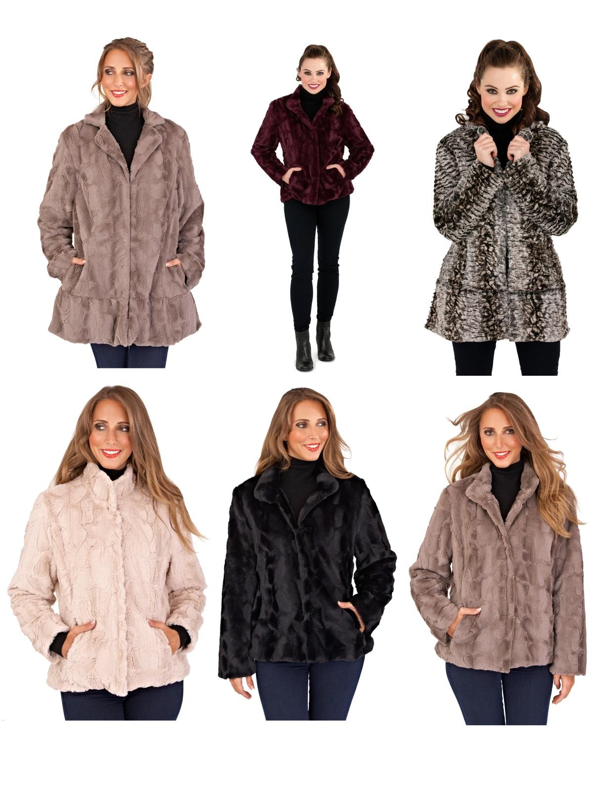 Womens Ladies Full Faux Fur Coat Short Mid Length Jacket ...