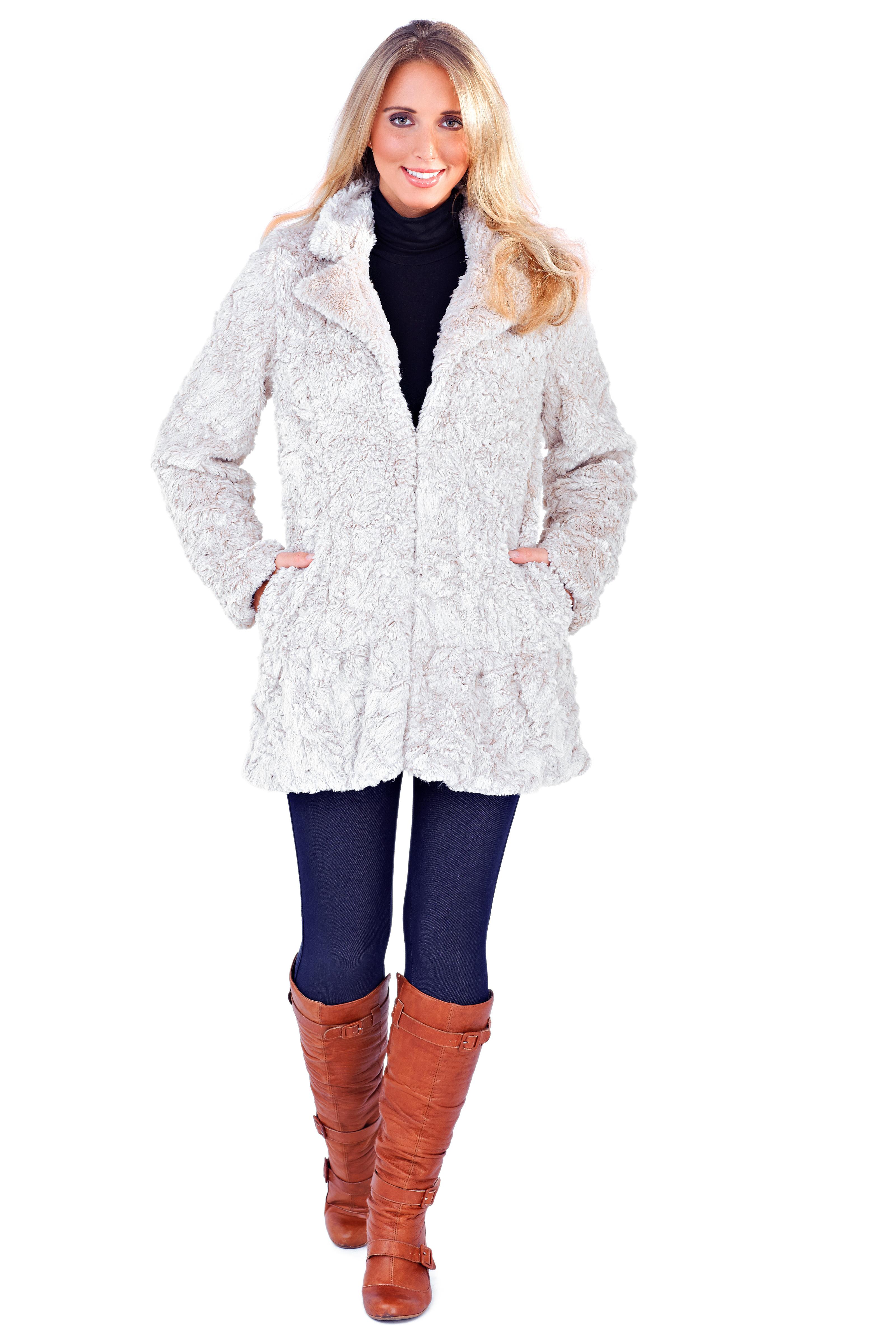 Womens Ladies Full Faux Fur Coat Short Mid Length Jacket Warm ...