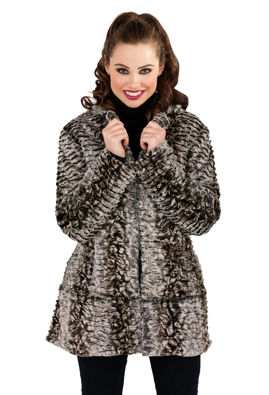 Womens Ladies Full Faux Fur Coat Short Mid Length Jacket