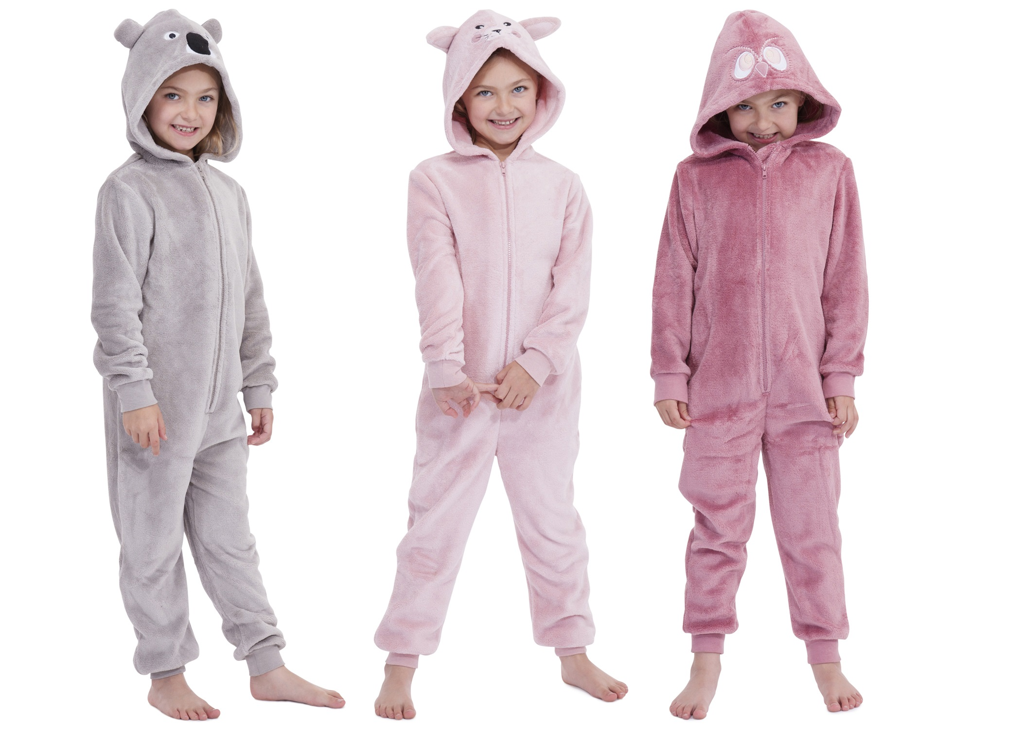 Kids Girls Boys Hooded Fleece Onesie All In 1 Jumpsuit Pjs Pyjamas ... 31f3fd0b7
