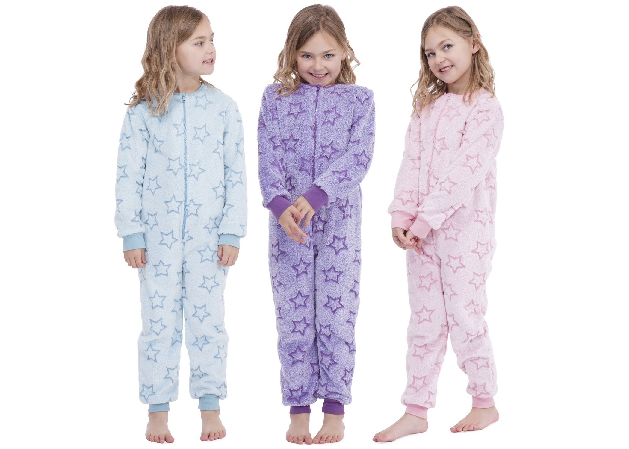 Kids Girls Boys Hooded Fleece Onesie All In 1 Jumpsuit Pjs Pyjamas ...