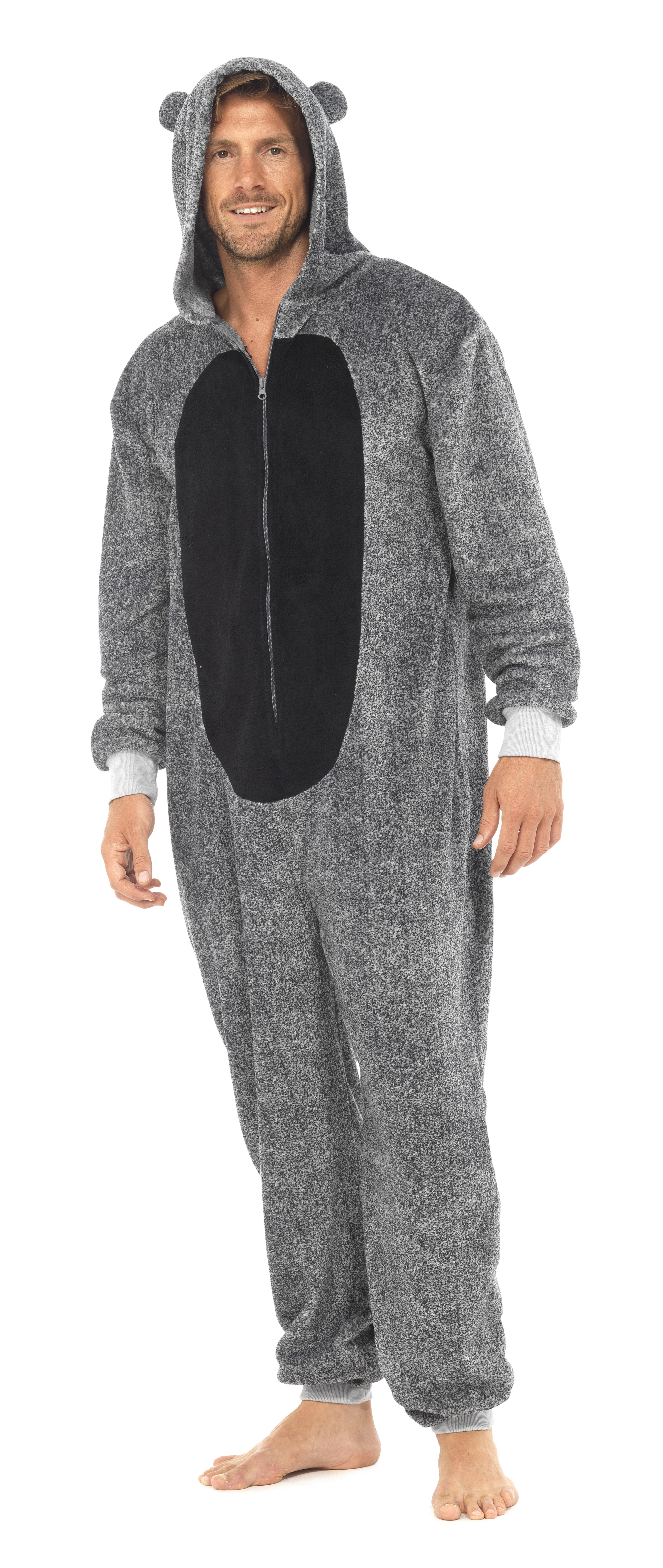 Mens boys fleece hooded animal ears onesie zip all in 1 for Mens dress shirt onesie