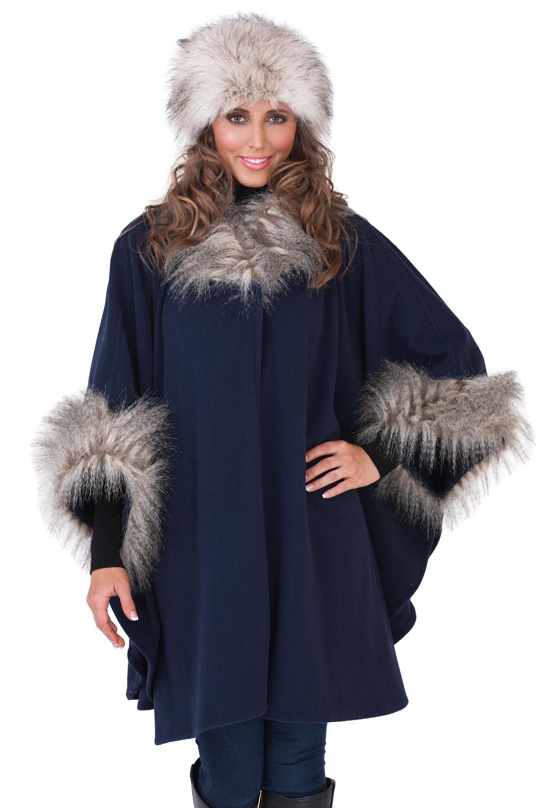 WOMENS LADIES FUR COLLAR SHAWL THROW CAPE COAT WRAP WINTER WARM ...