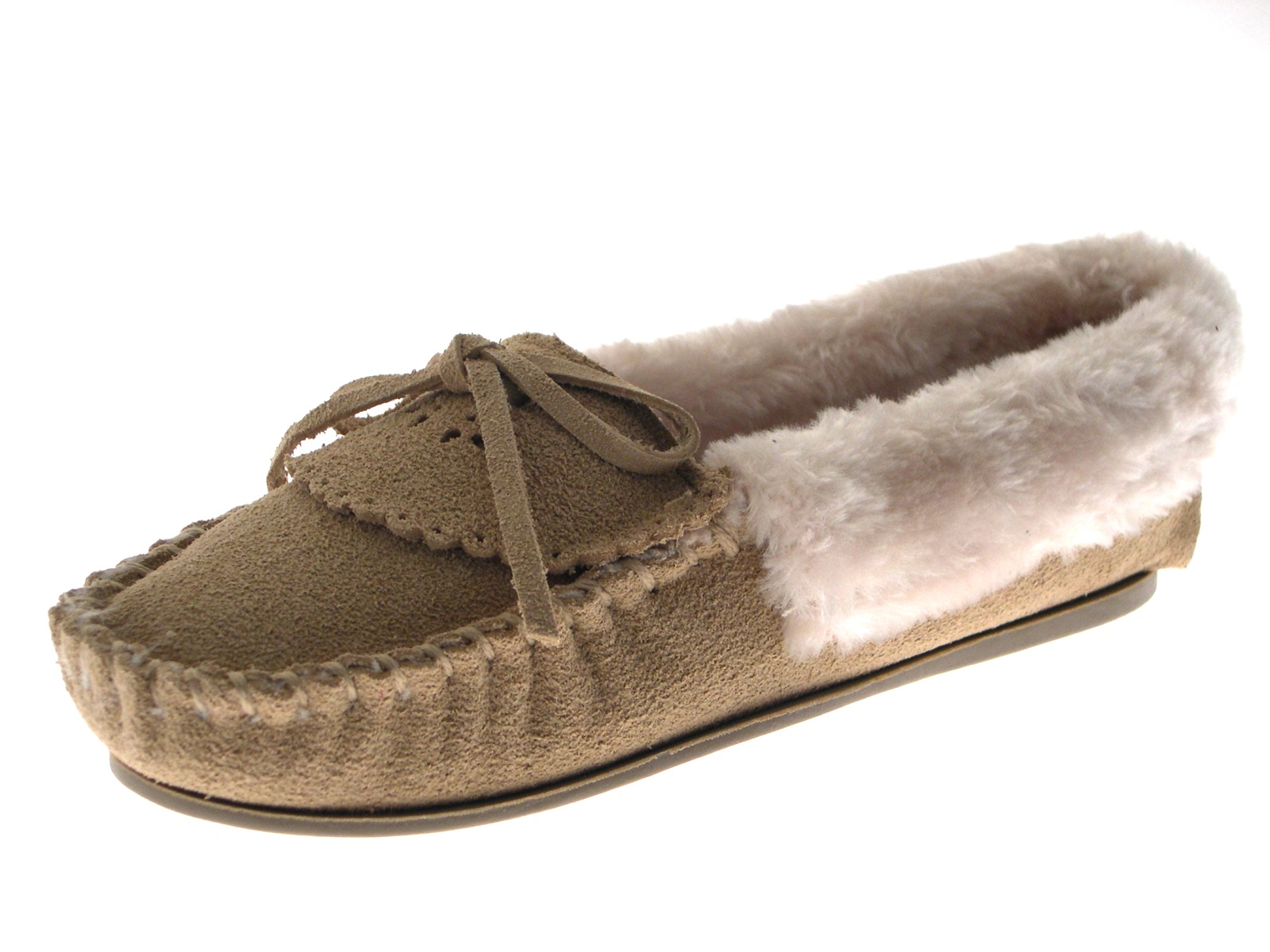 Ladies Avenue Beige Faux Suede Moccasin Slippers Fur Lining UK 7 EU 41