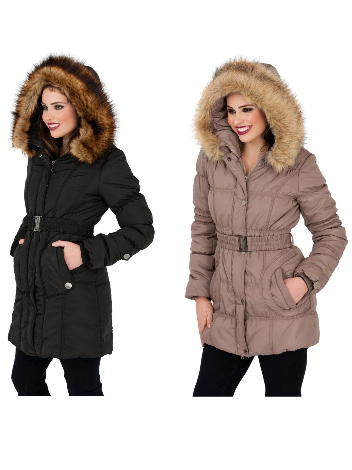 Womens padded coat with fur hood uk