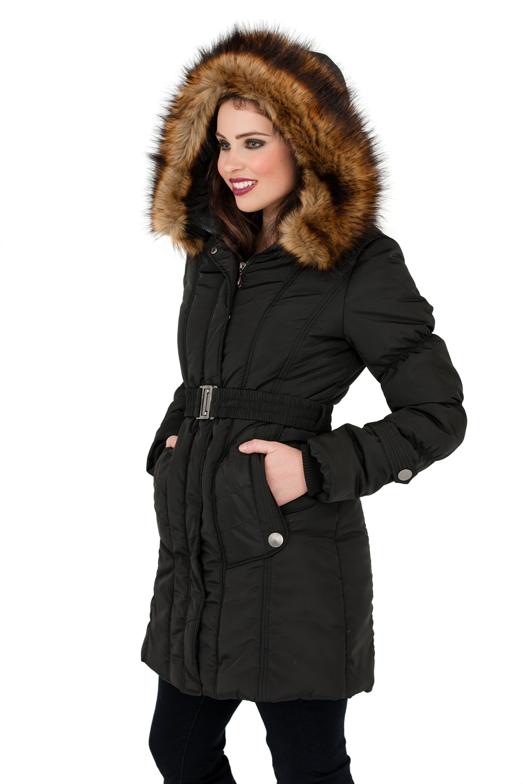 Womens Mid Length Padded Parka Coat Faux Fur Hooded Jacket Ladies ...