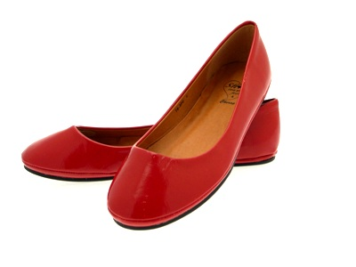 WOMENS PATENT BALLET PUMPS FLATS SHOES RED LADIES 4/37