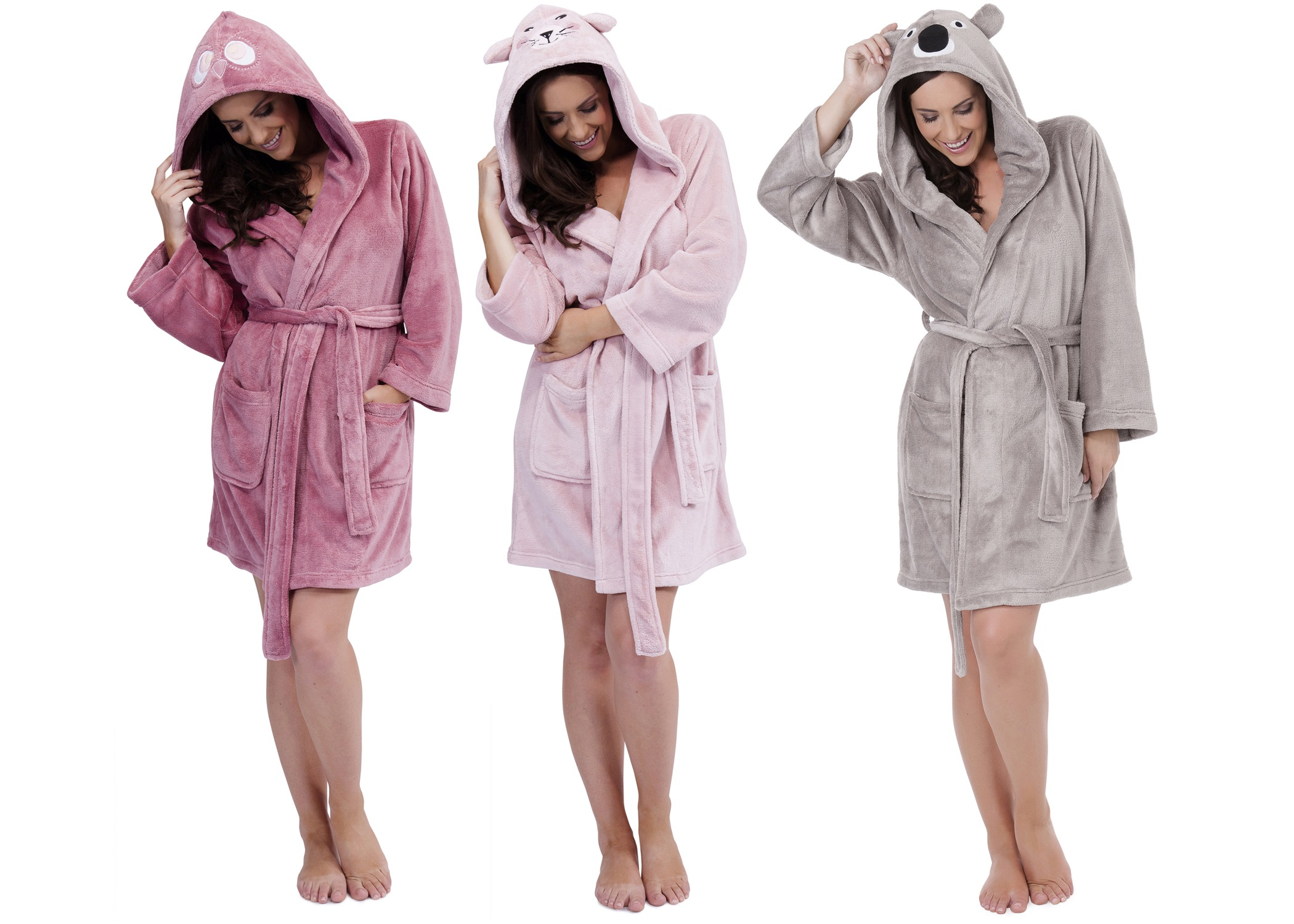 Womens Hooded Short Bath Robe Dressing Gown Housecoat With Belt