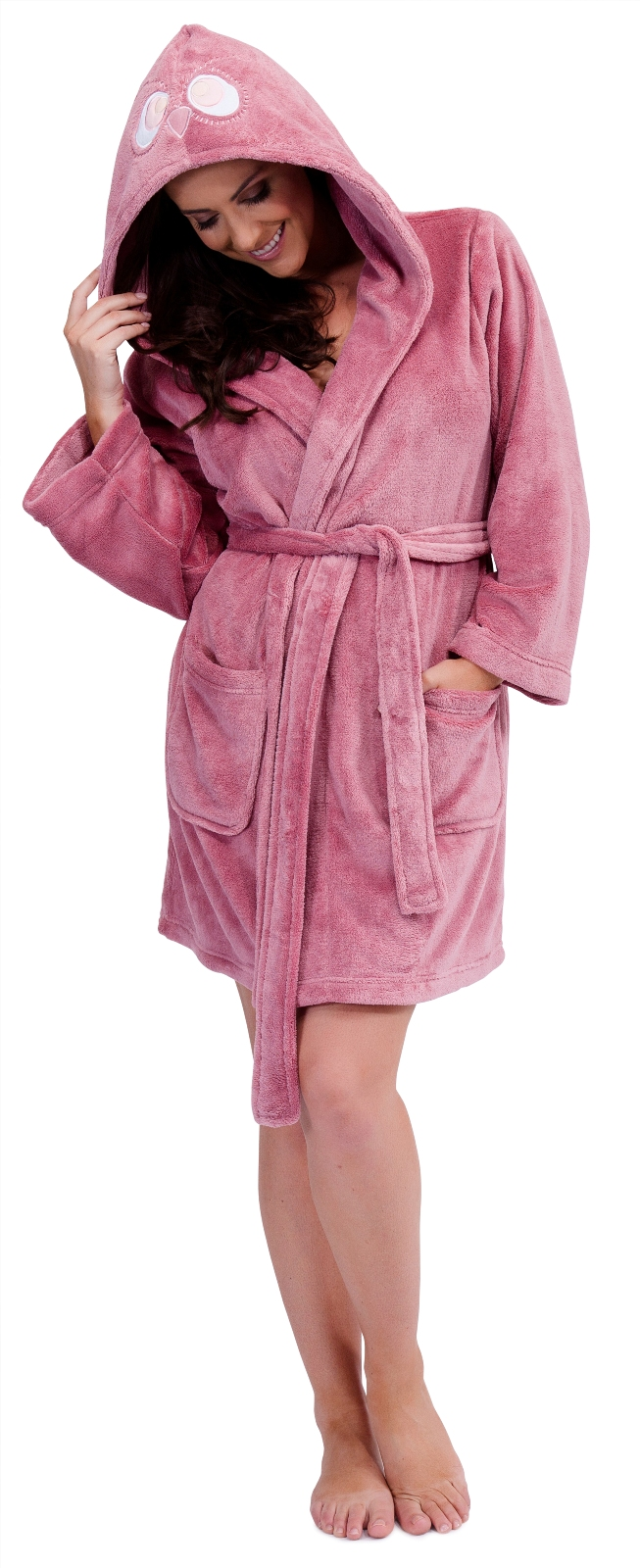 Details about WOMENS HOODED SHORT BATH ROBE DRESSING GOWN HOUSECOAT WITH BELT LADIES SM-XL