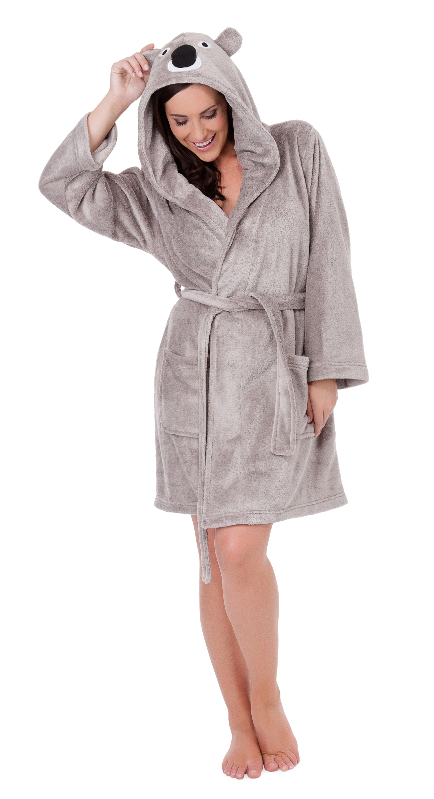 b1dbcbca20 WOMENS HOODED SHORT BATH ROBE DRESSING GOWN HOUSECOAT WITH BELT ...