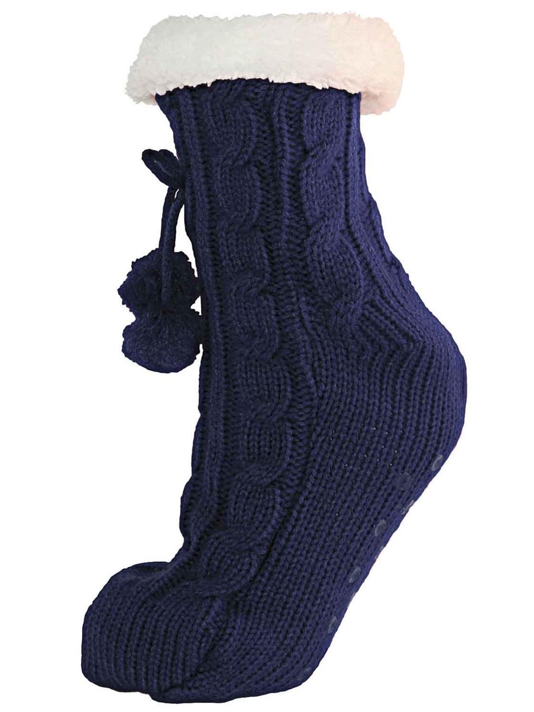 Womens Ladies Girls Fur Lined Slipper Socks Ankle Boot Booties Pom Poms Size 4-7 | EBay