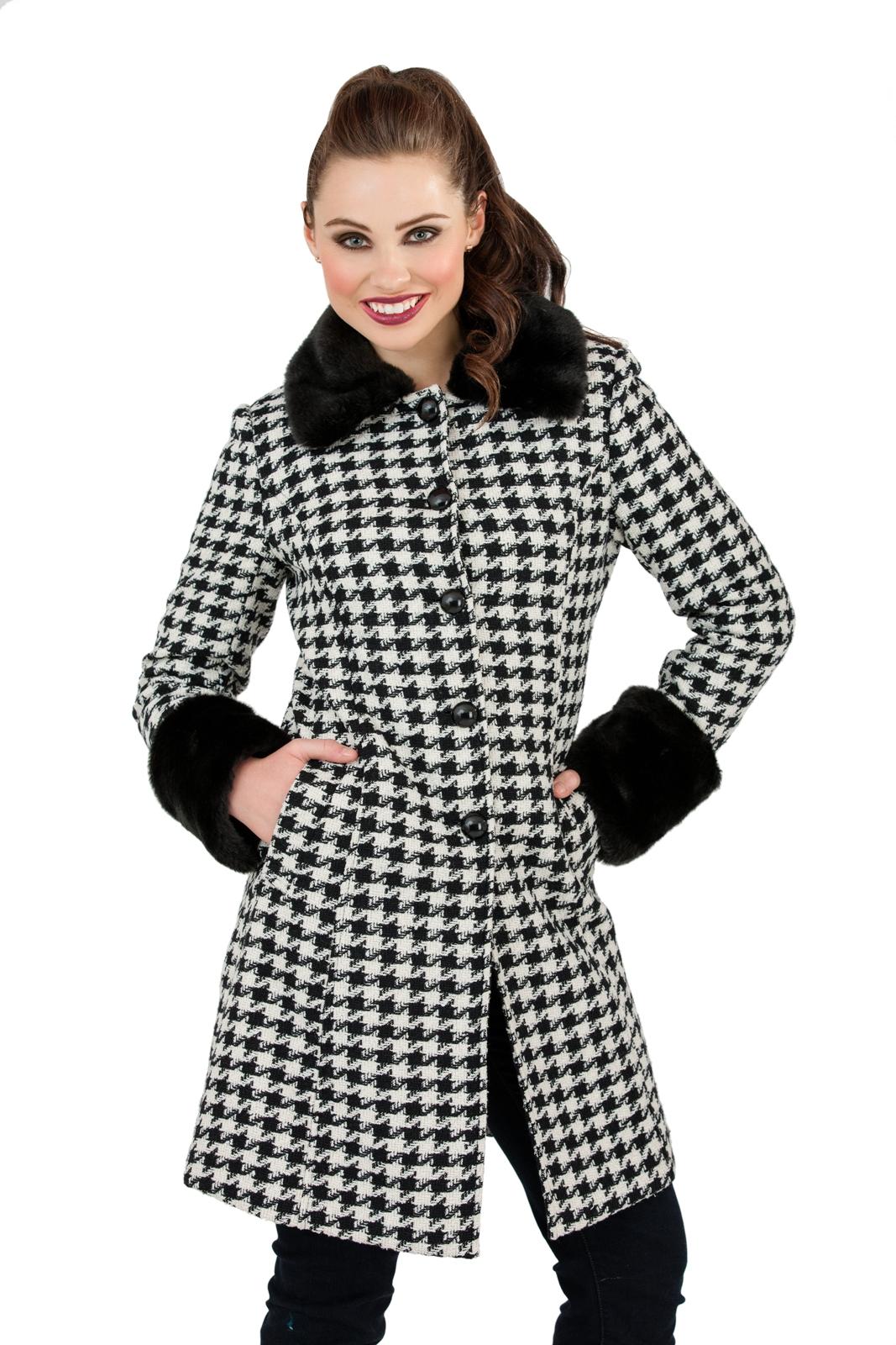 Womens Warm Winter Coat Faux Fur Cuffs Collar Woollen ...