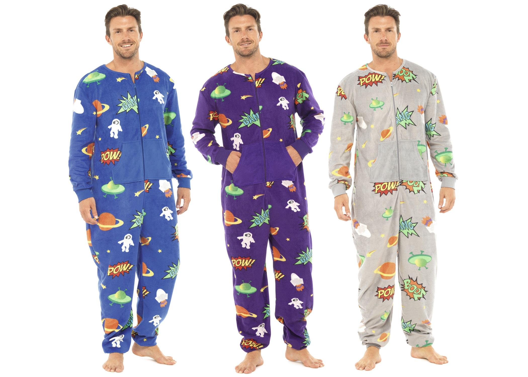 Hommes pleine longueur en polaire combinaison fermeture clair tout en un combinaison pyjama pjs - Combinaison polaire homme ...
