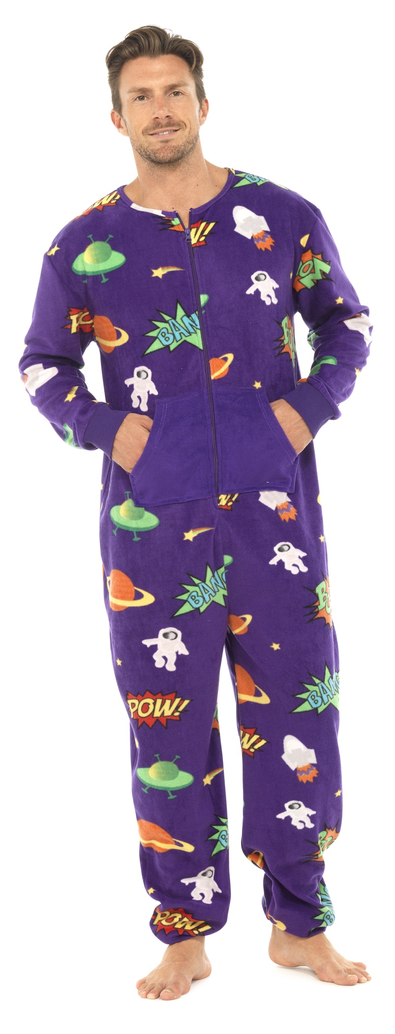 Mens footed pajamas, onesies for men, butt flap pajamas for men and drop seat pajamas onesies with feet. Select from many fabrics, colors and prints, hoodie footed onesies, classic plaid tartan flannels, fleece footed pajamas in solid colors or our popular camouflage footed pajamas for men.