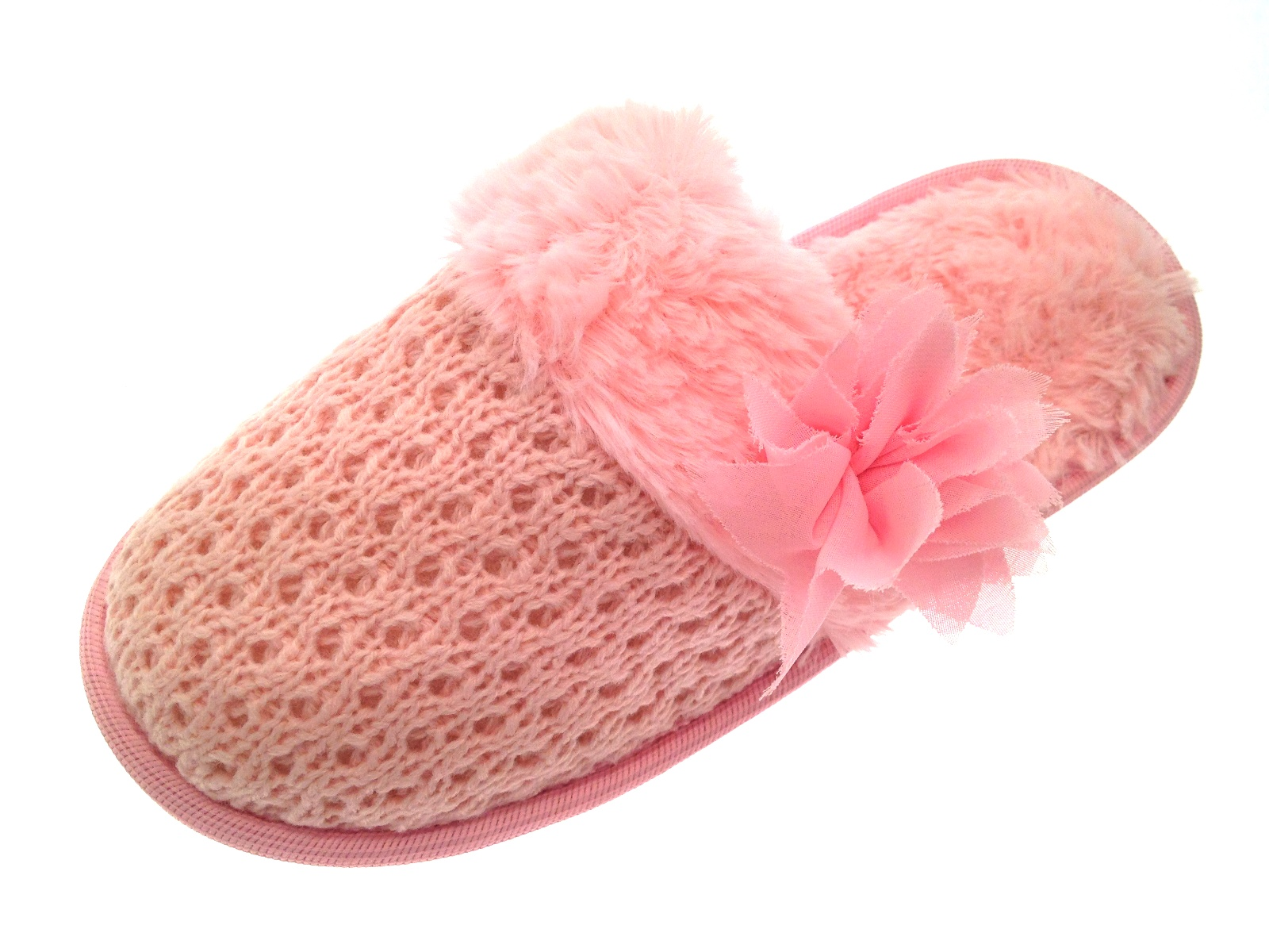 Knitting Pattern For Womens Slippers : Womens Knitted Slippers Mules Fur Lined Girls Ladies Slipper Shoes Size UK 3 ...