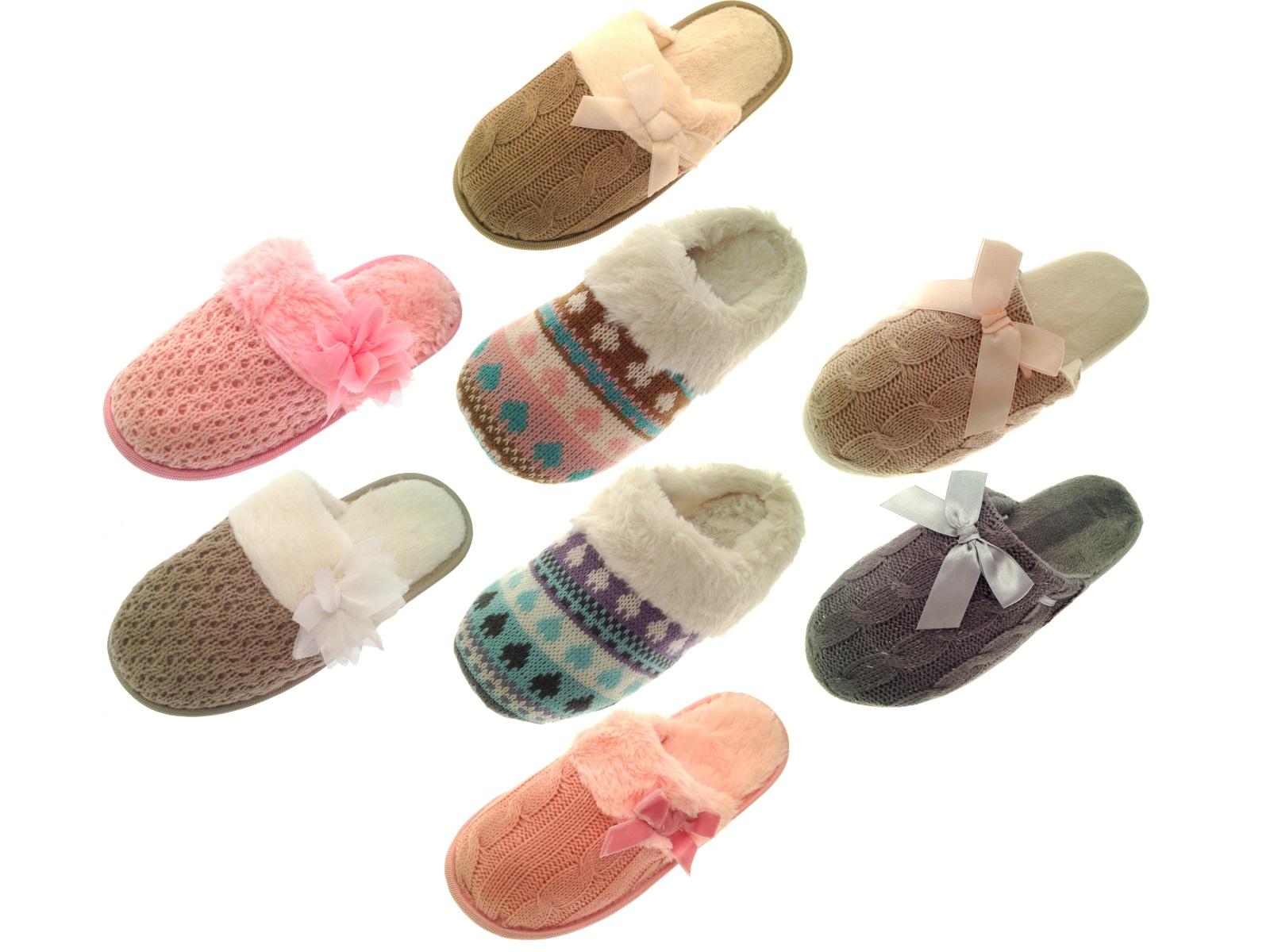 Para mujer Knitted Zapatillas mulas forrado de piel Chicas Damas Zapatillas Zapatos Talla Uk 3 - 8