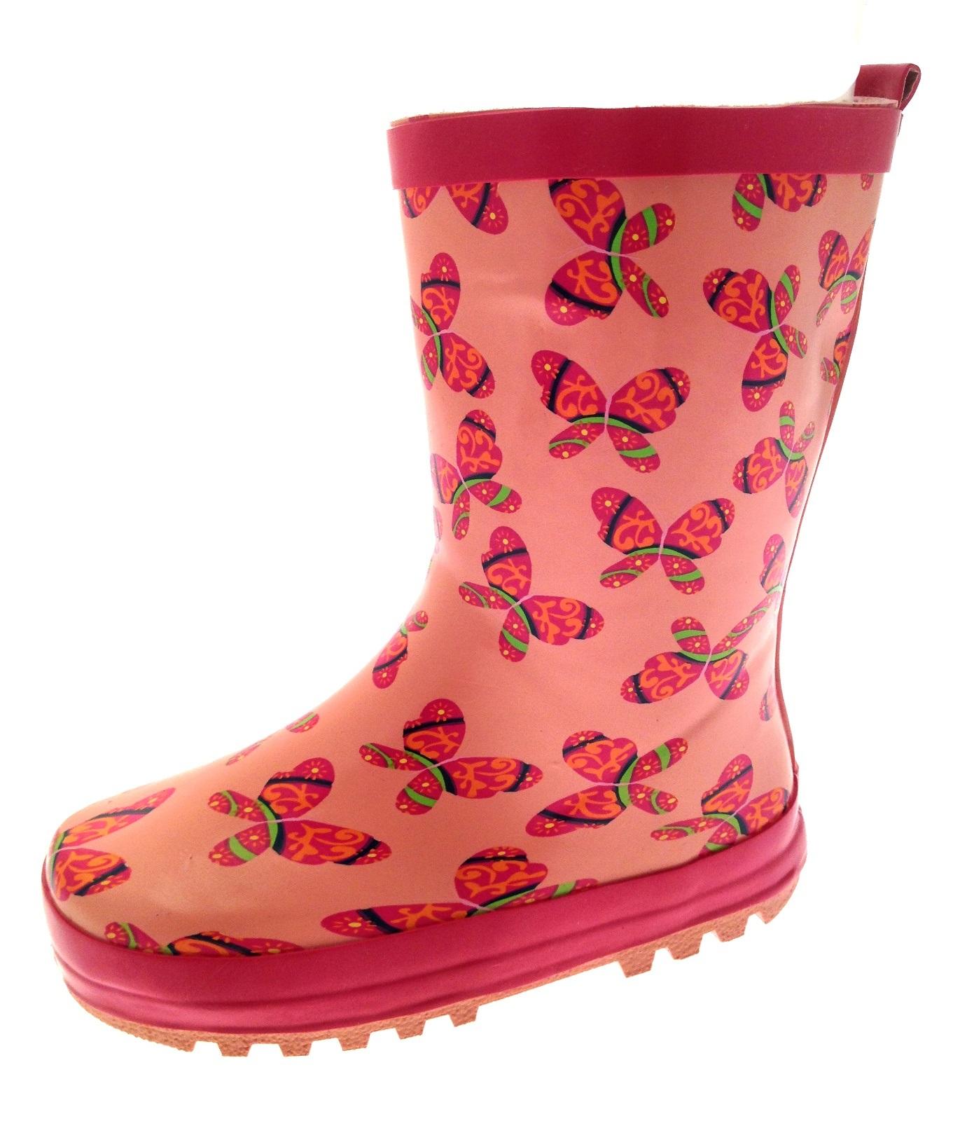 Kids Girls Rubber Rain Snow Boots Wellies Wellingtons