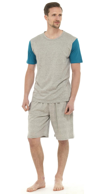 Mens short 100 cotton pyjamas set shorts short sleeve t T shirt and shorts pyjamas