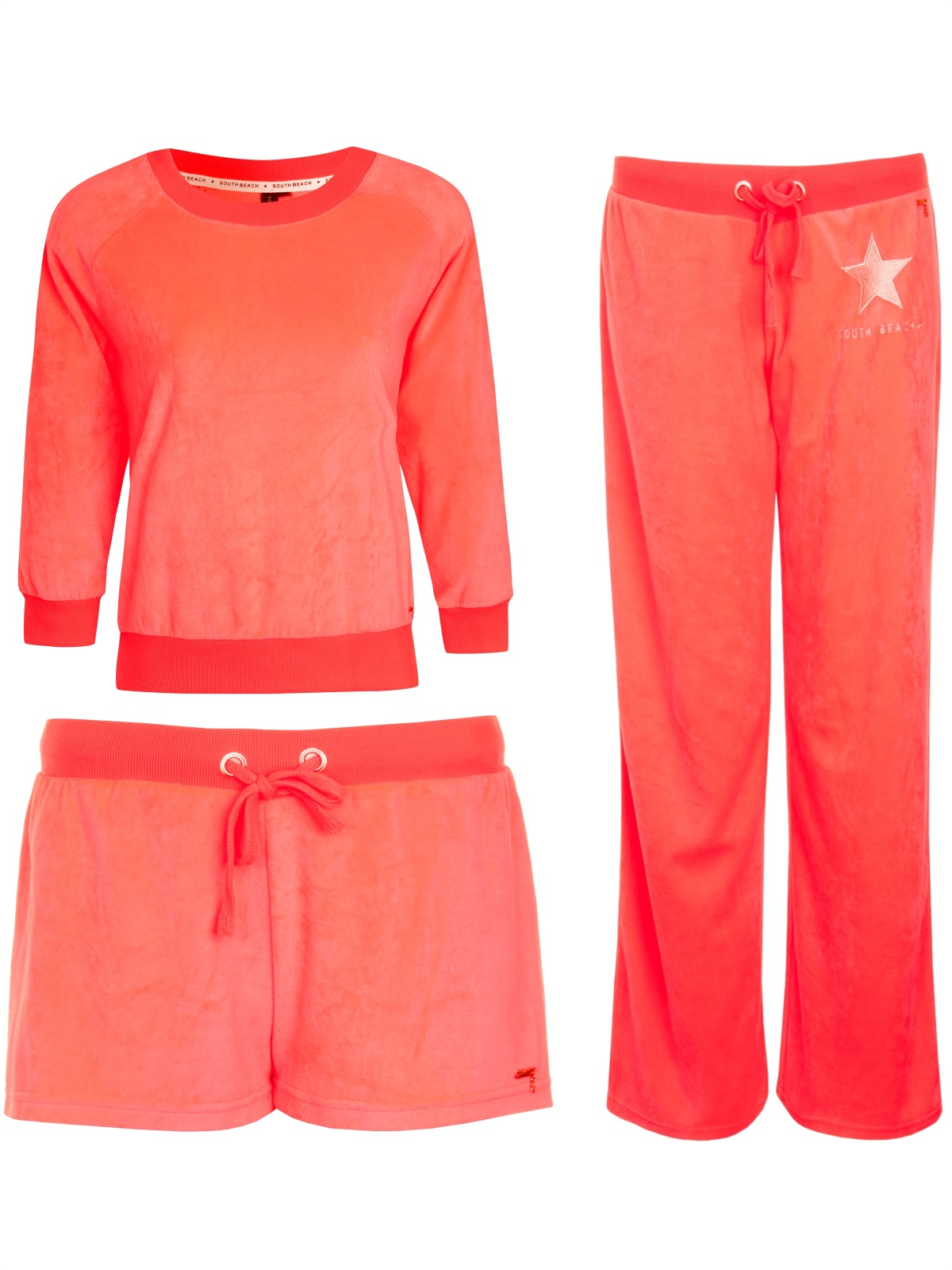 Womens Neon South Beach Tracksuit Sweatshirt Joggers Shorts Ladies ...