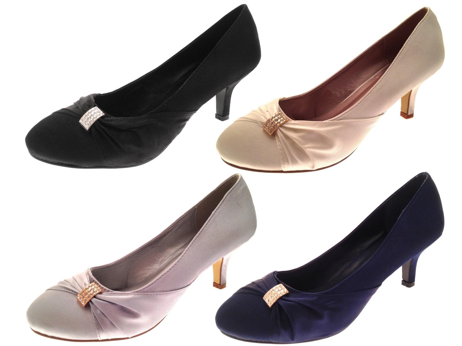 Womens Low Heel Satin Diamante Wedding Heels Bridal Shoes Ladies