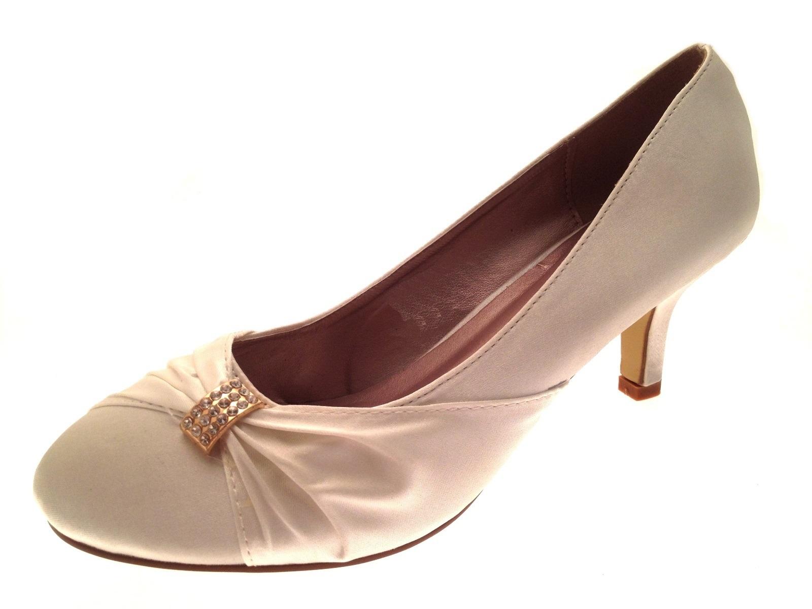 Womens Low Heel Satin Diamante Wedding Heels Bridal Shoes Las