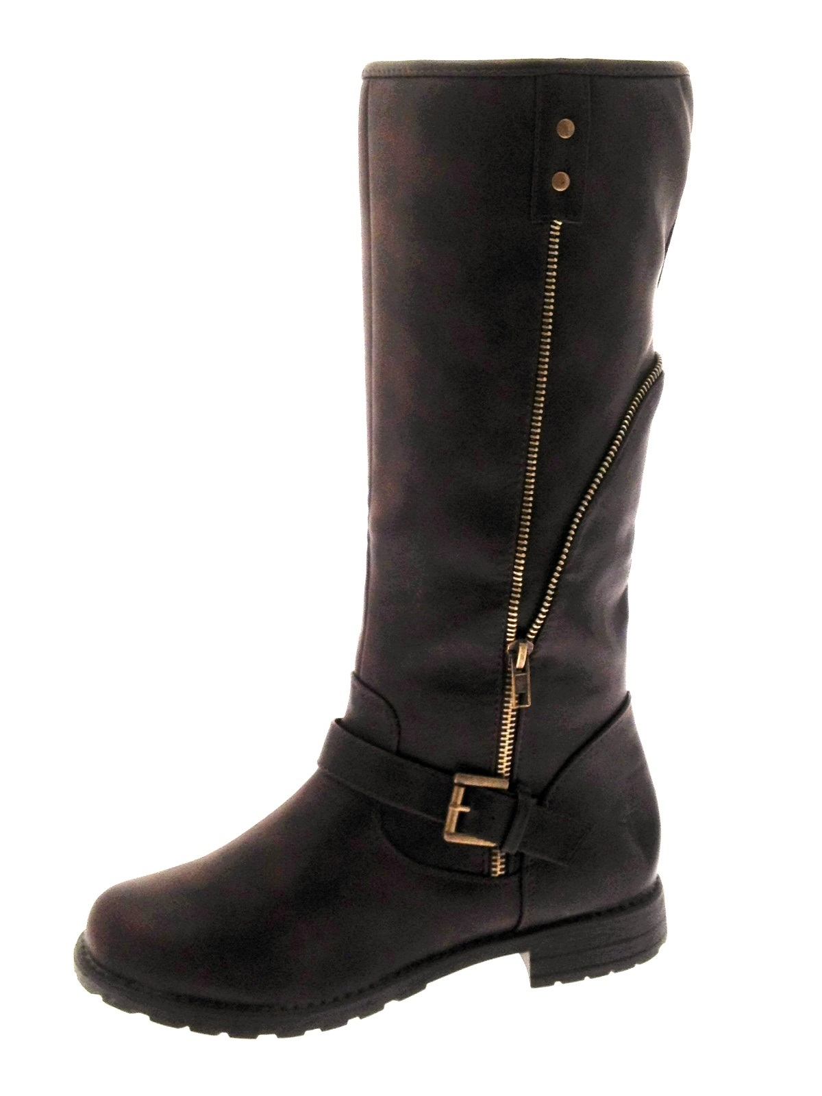 womens aviator fleece lined biker boots knee length