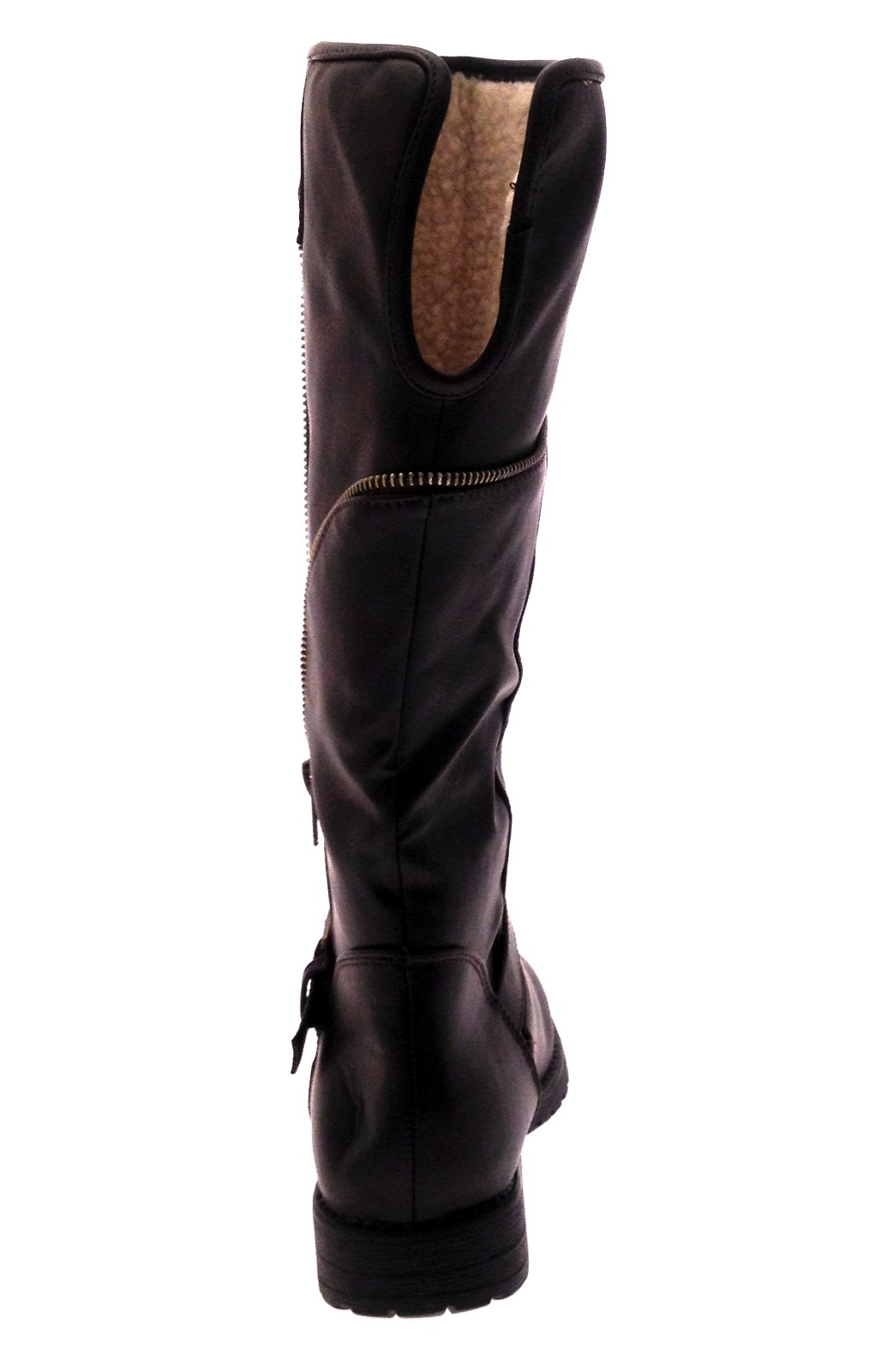 Model Womens Brown Faux Leather Knitted Collar Biker Boots Ladies Designer Boot UK 3-8 | EBay