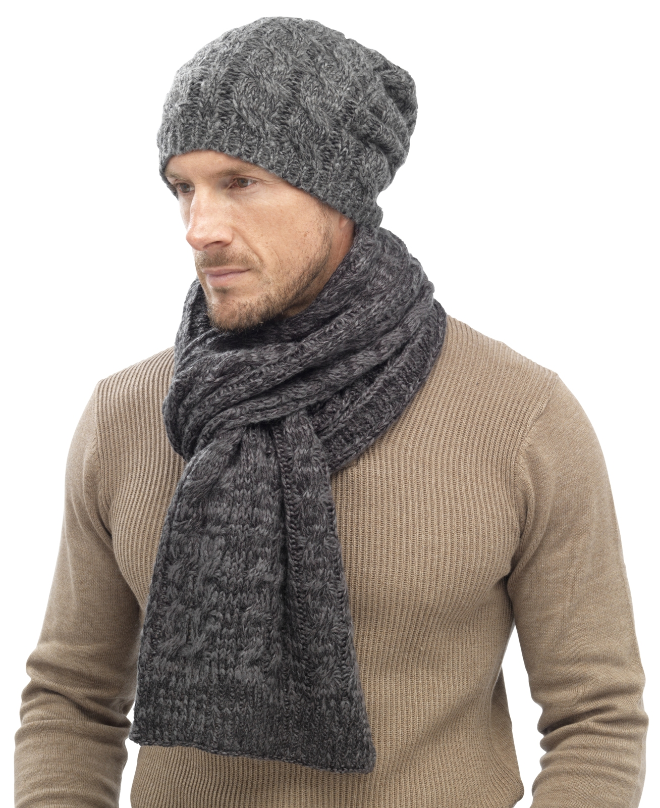 Knitting Pattern Mens Bobble Hat : Mens Luxury Fairisle Cable Knit Slouch Beanie Bobble Hat ...