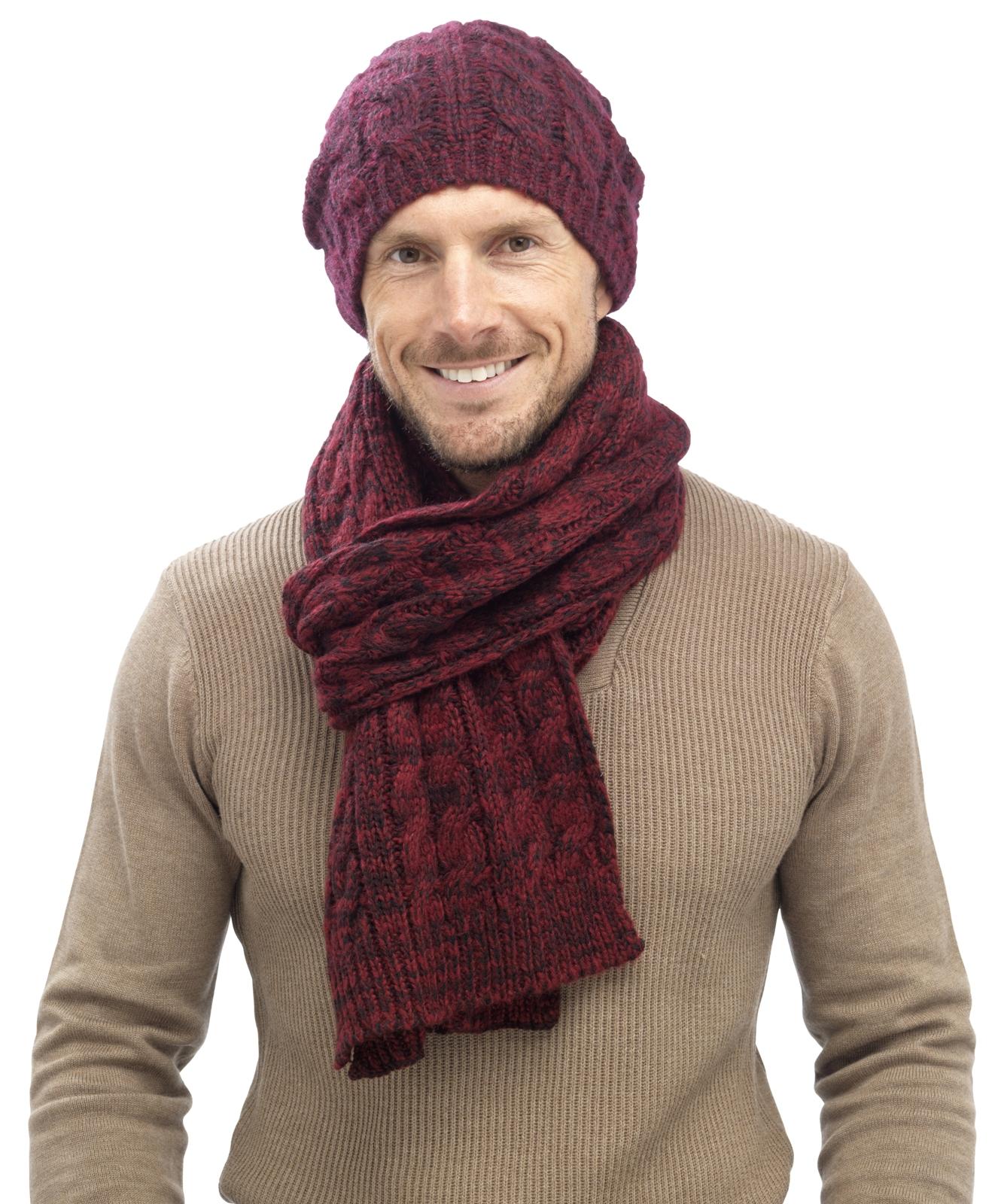 Mens Bobble Hat Knitting Pattern : Mens Luxury Fairisle Cable Knit Slouch Beanie Bobble Hat ...