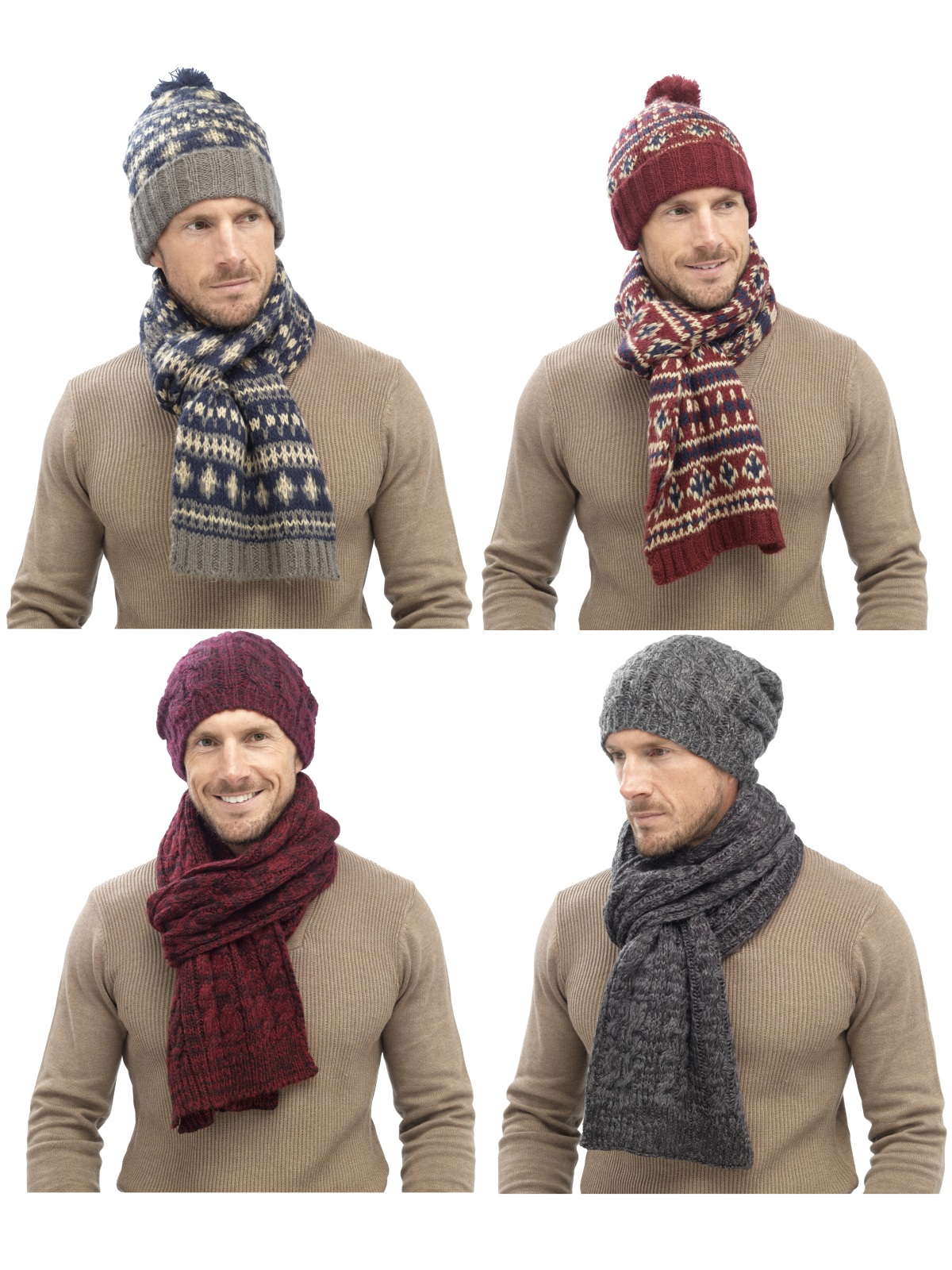 916d0b87b8cf4 Mens Luxury Fairisle Cable Knit Slouch Beanie Bobble Hat + Scarf ...