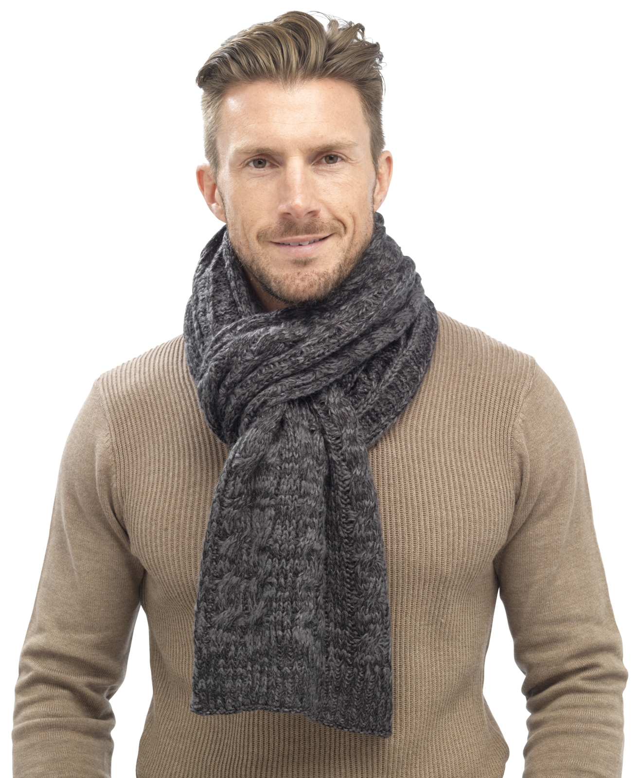 Knitting Scarf For Man : Mens luxury fairisle cable knit slouch beanie bobble hat