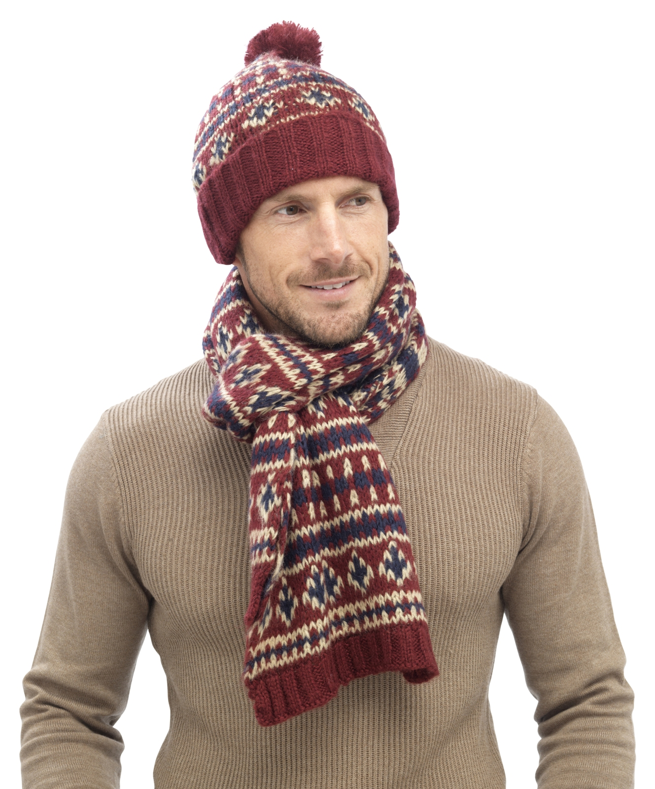 Mens Luxury Fairisle Cable Knit Slouch Beanie Bobble Hat + Scarf Gift Set Win...