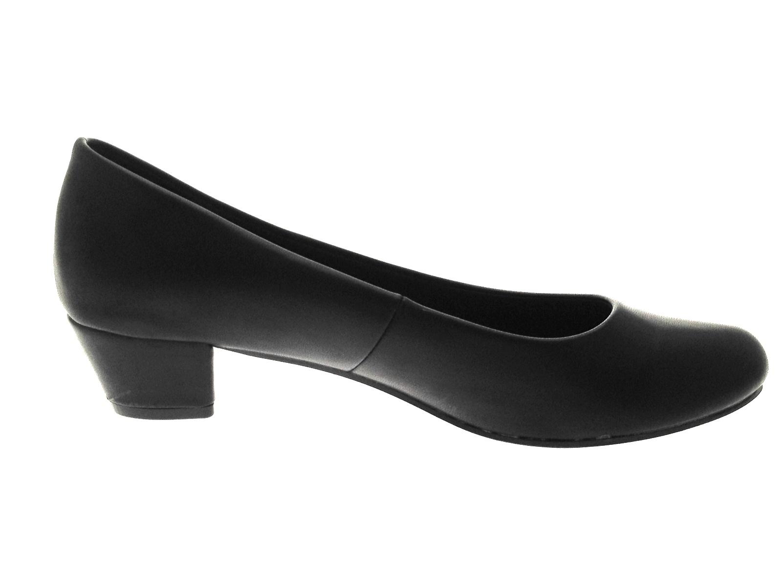 Ladies Low Heel Navy Court Shoes