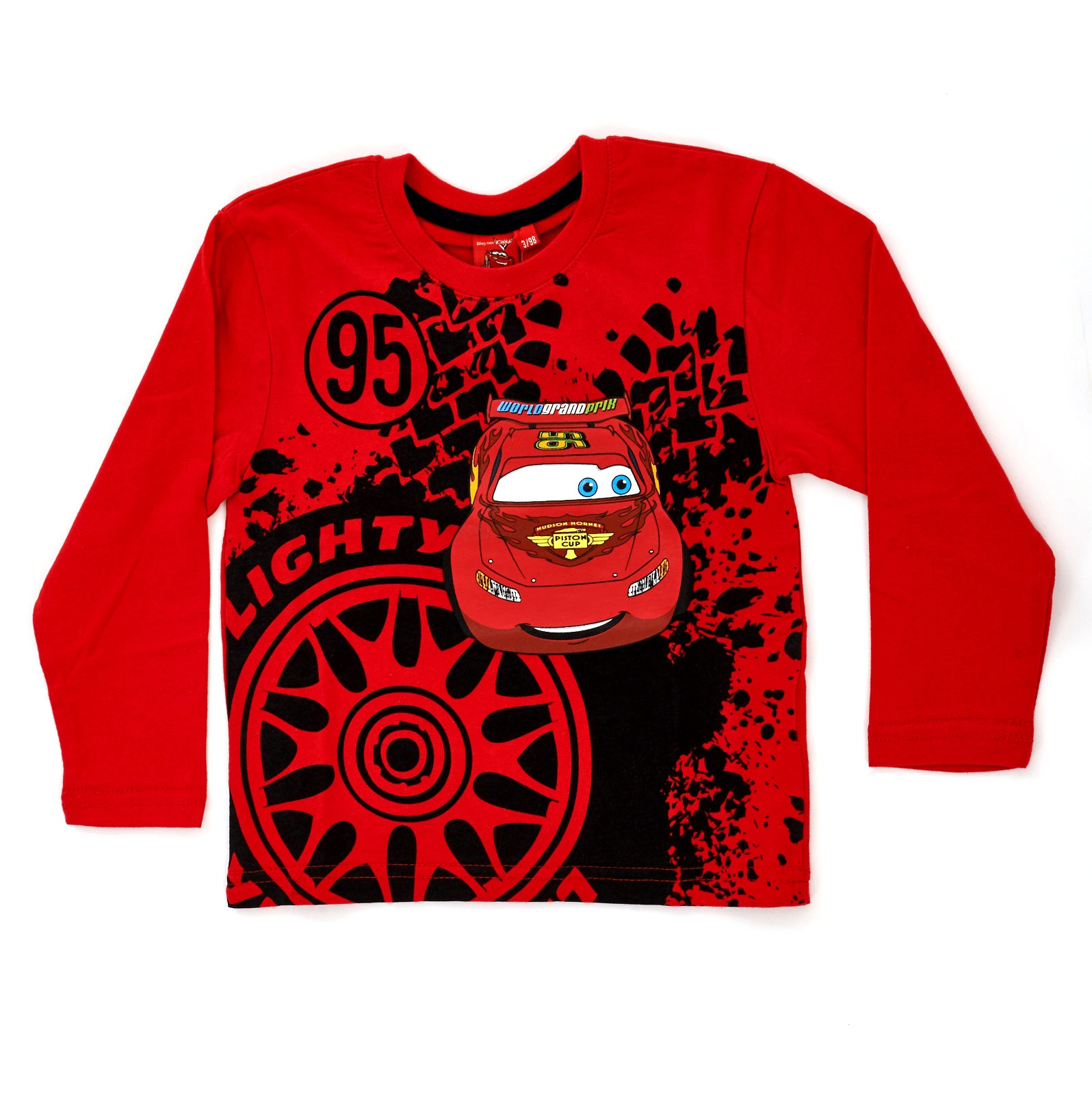 Kids boys disney cars lightning mcqueen long sleeve t for What size shirt for 8 year old boy