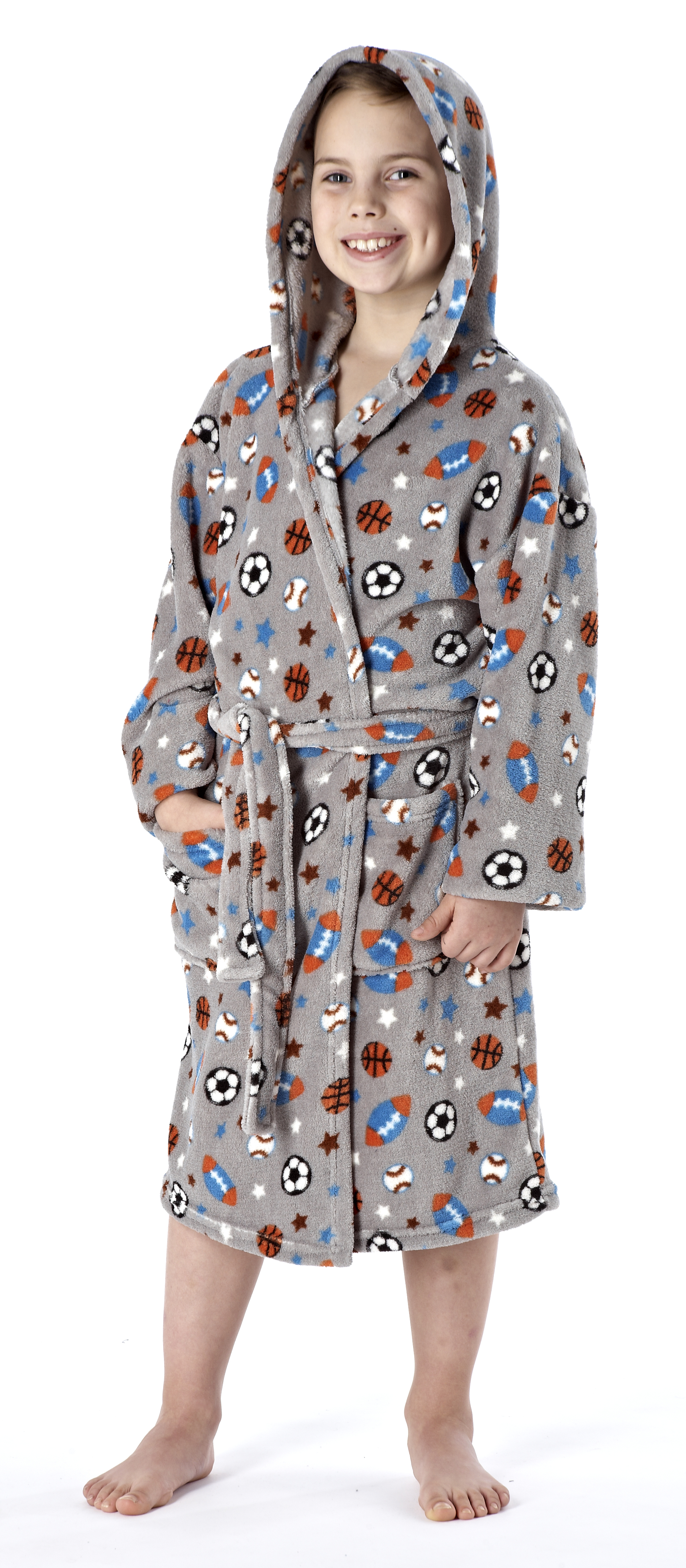 kids boys girls fleece dressing gown bath robe wrap house. Black Bedroom Furniture Sets. Home Design Ideas