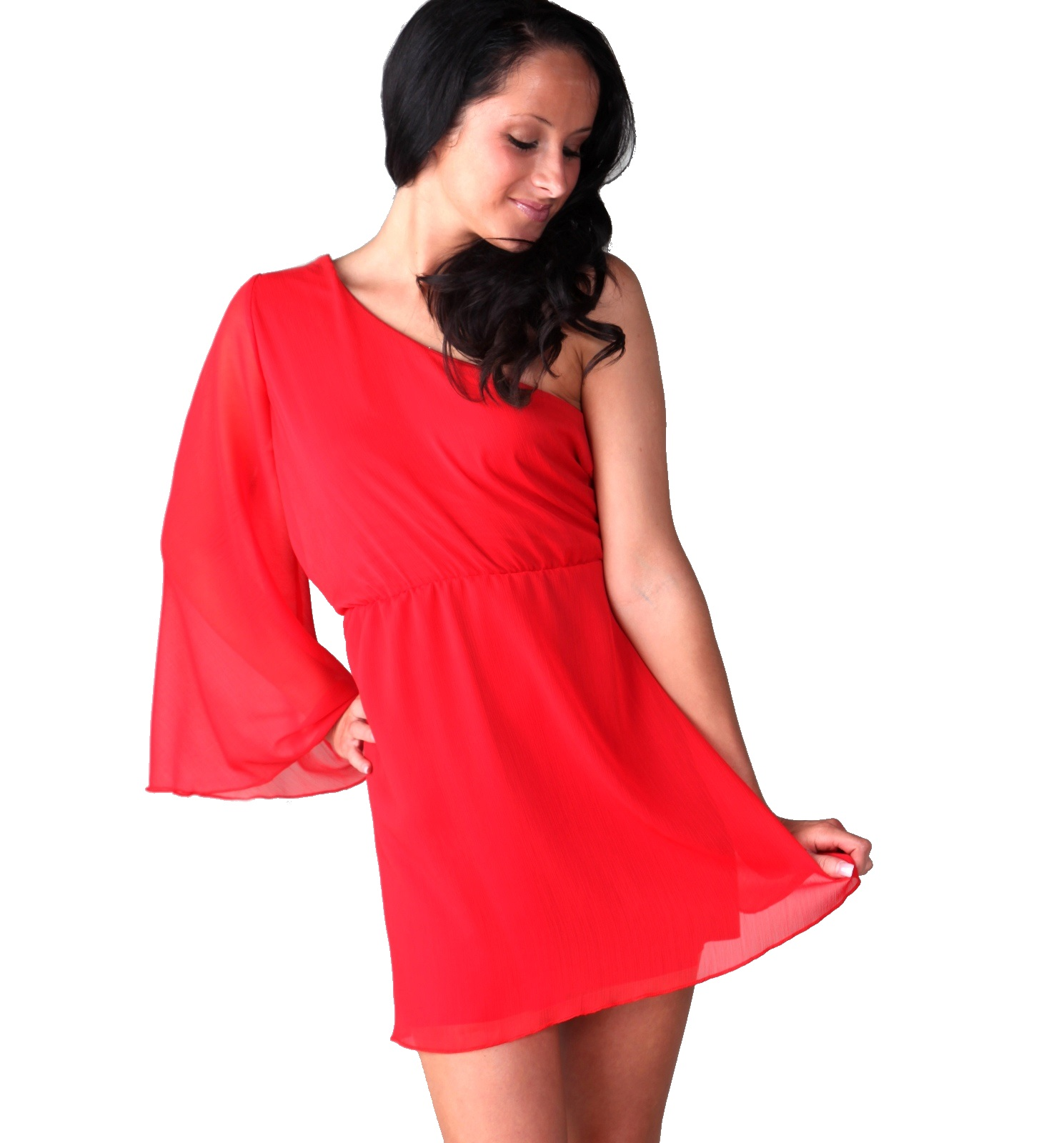 red chiffon short one shoulder dress