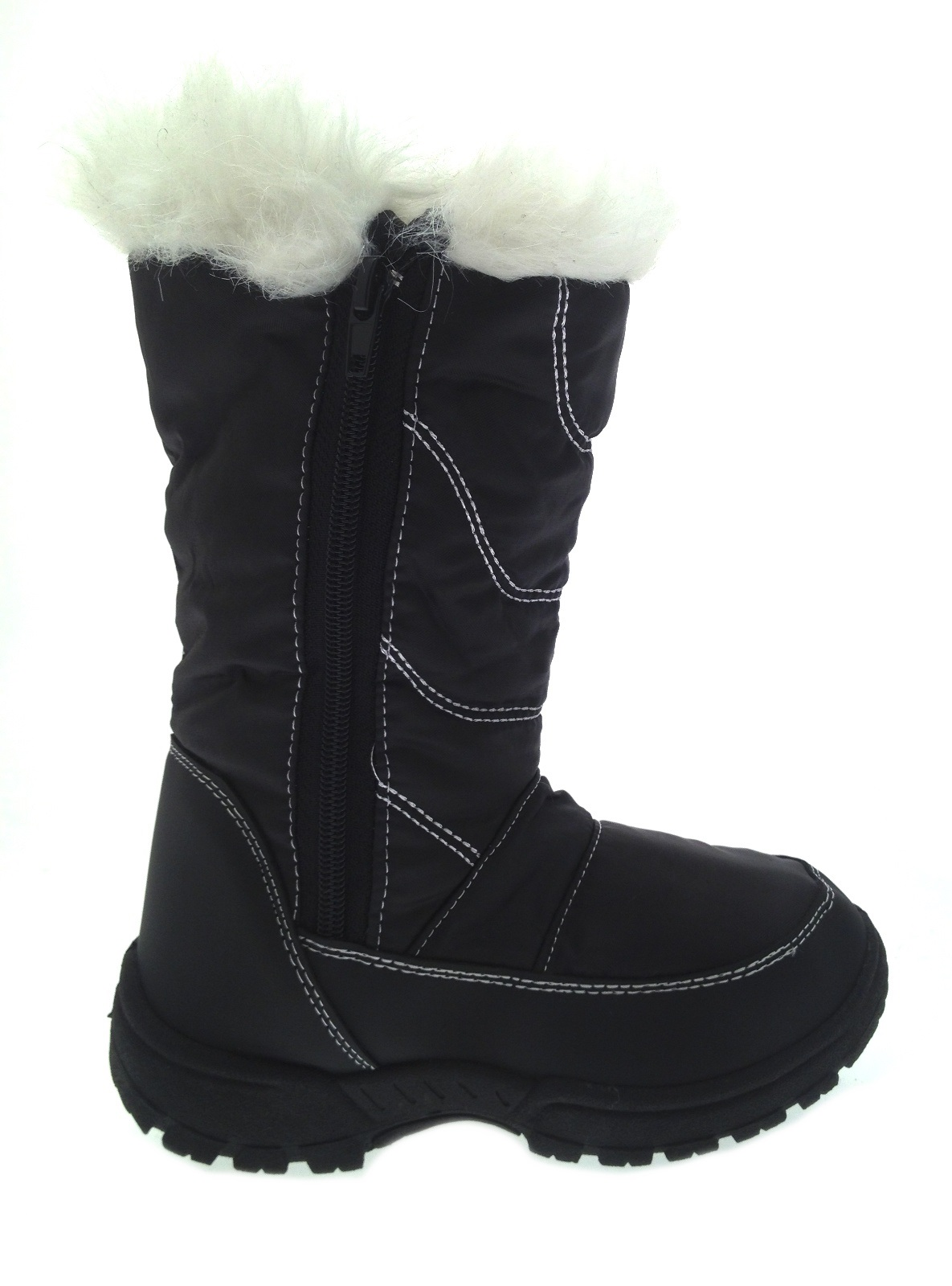 Kids Girls Boys Waterproof Sole Snow Boots Fur Trim Mucker
