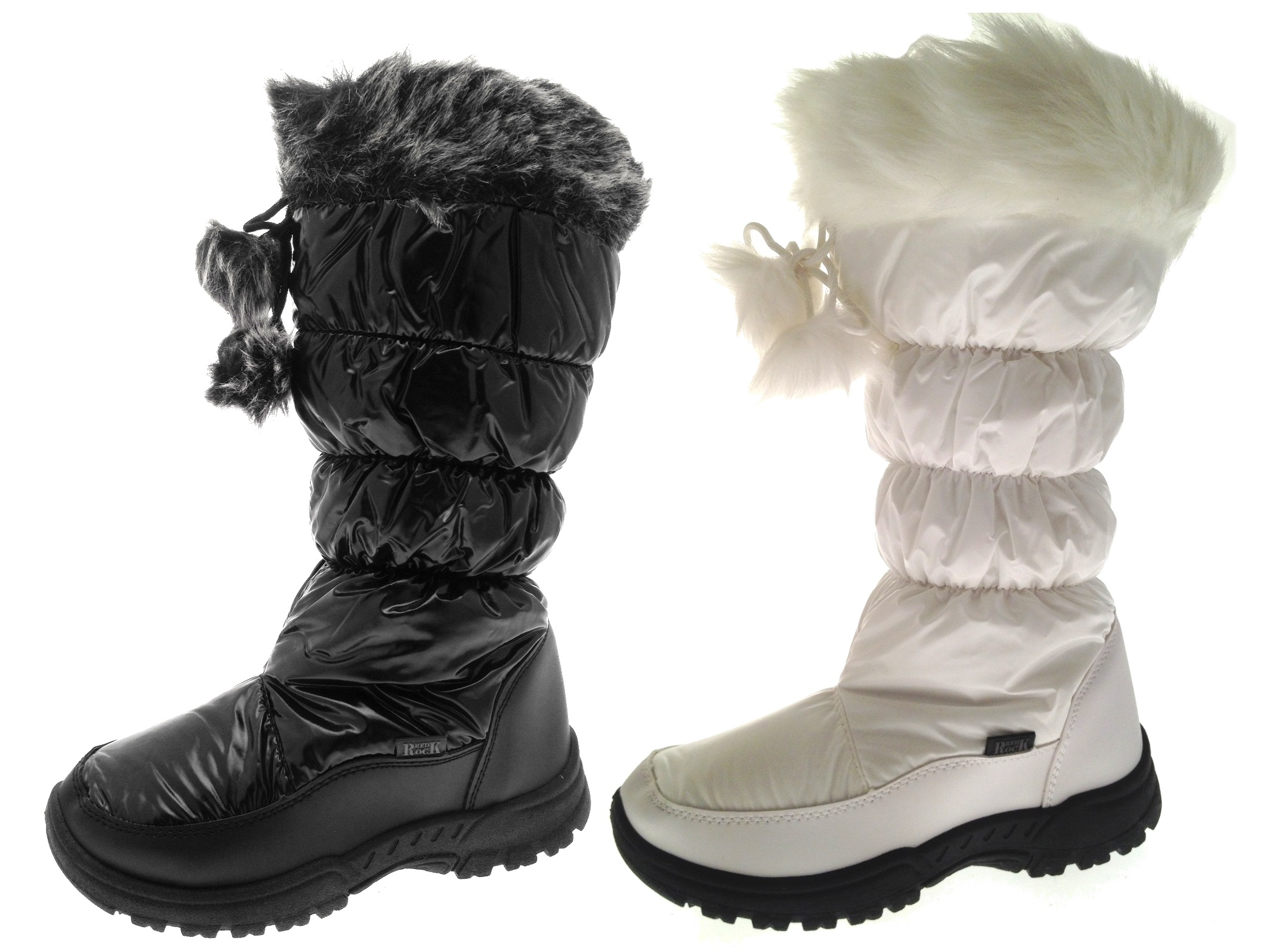 Womens Tall Fur Lined Pom Pom Snow Boots Ski Moon Jogger