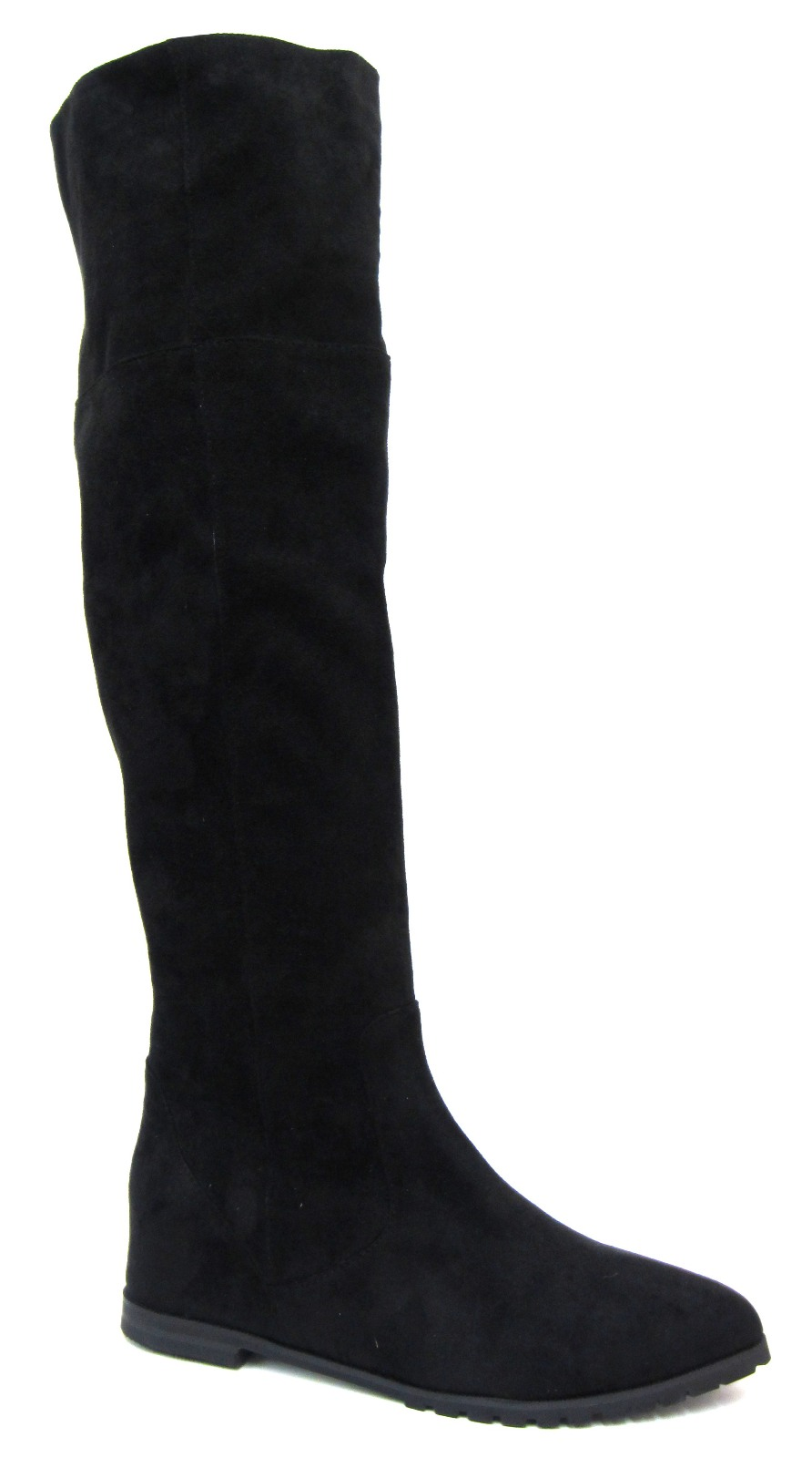 Womens Faux Suede Leather Flat Riding Knee High Boots Ladies Shoes ...