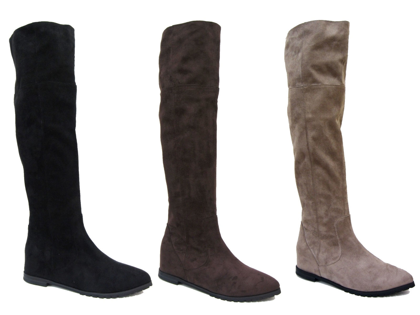 4614fc0d7c1 Womens Faux Suede Leather Flat Riding Knee High Boots Ladies Shoes Size UK  3 - 8