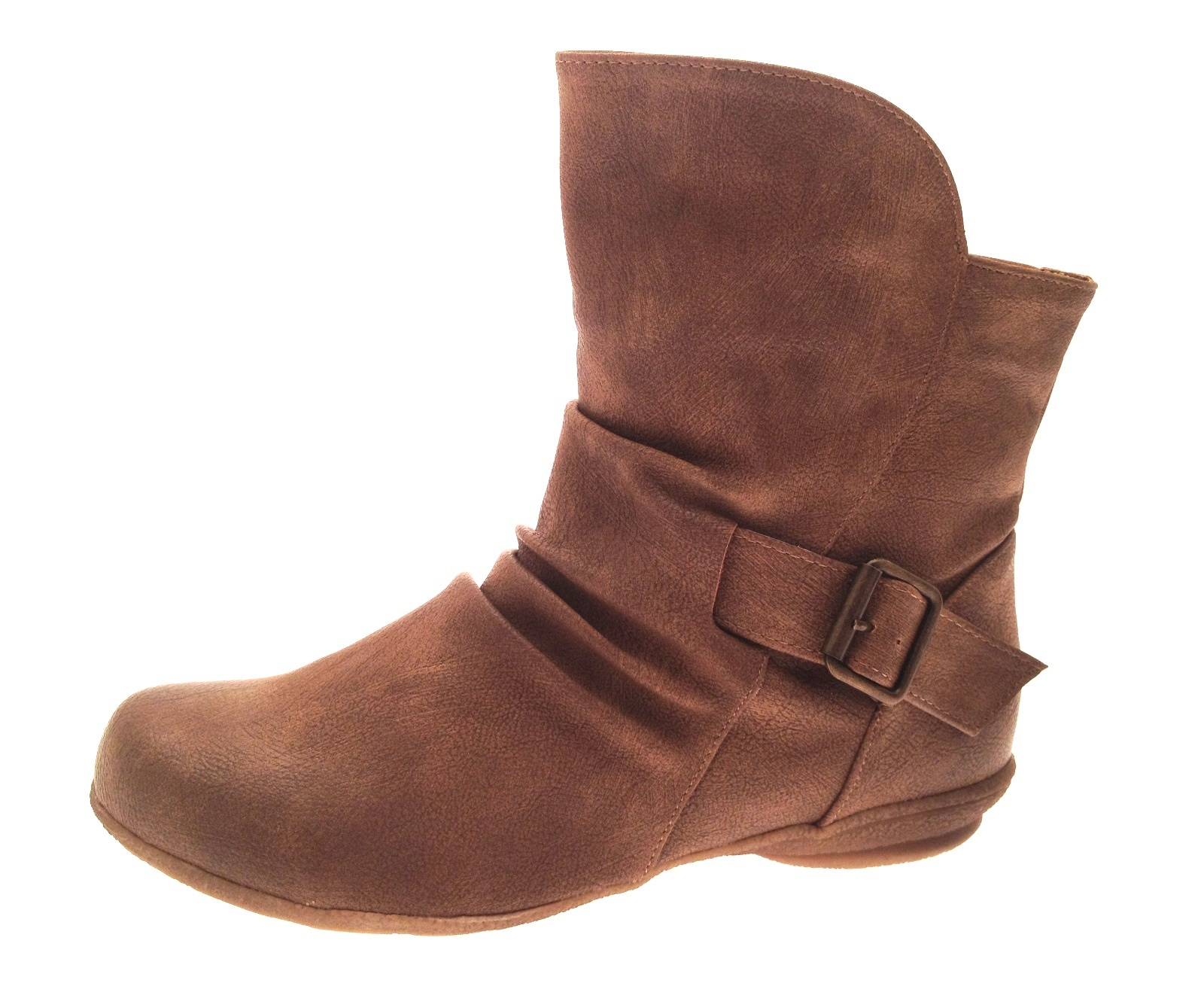 womens faux leather flat ruched ankle boots buckle