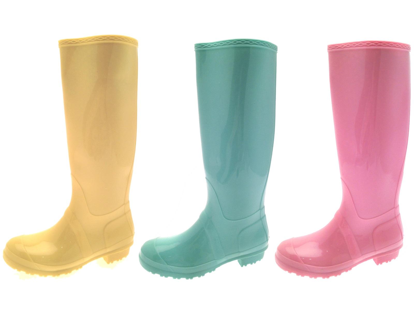 Popular WOMENS LADIES FLAT FESTIVAL WELLIES WELLINGTON KNEE HIGH RAIN BOOTS