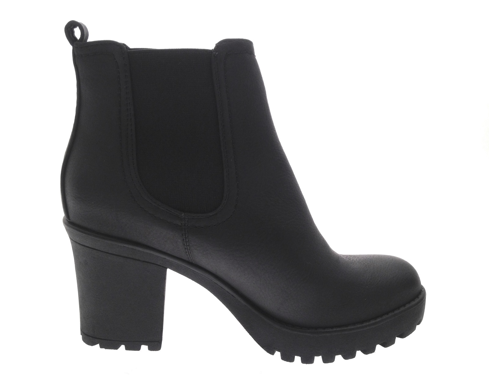 womens mid chunky block heel chelsea low ankle boots