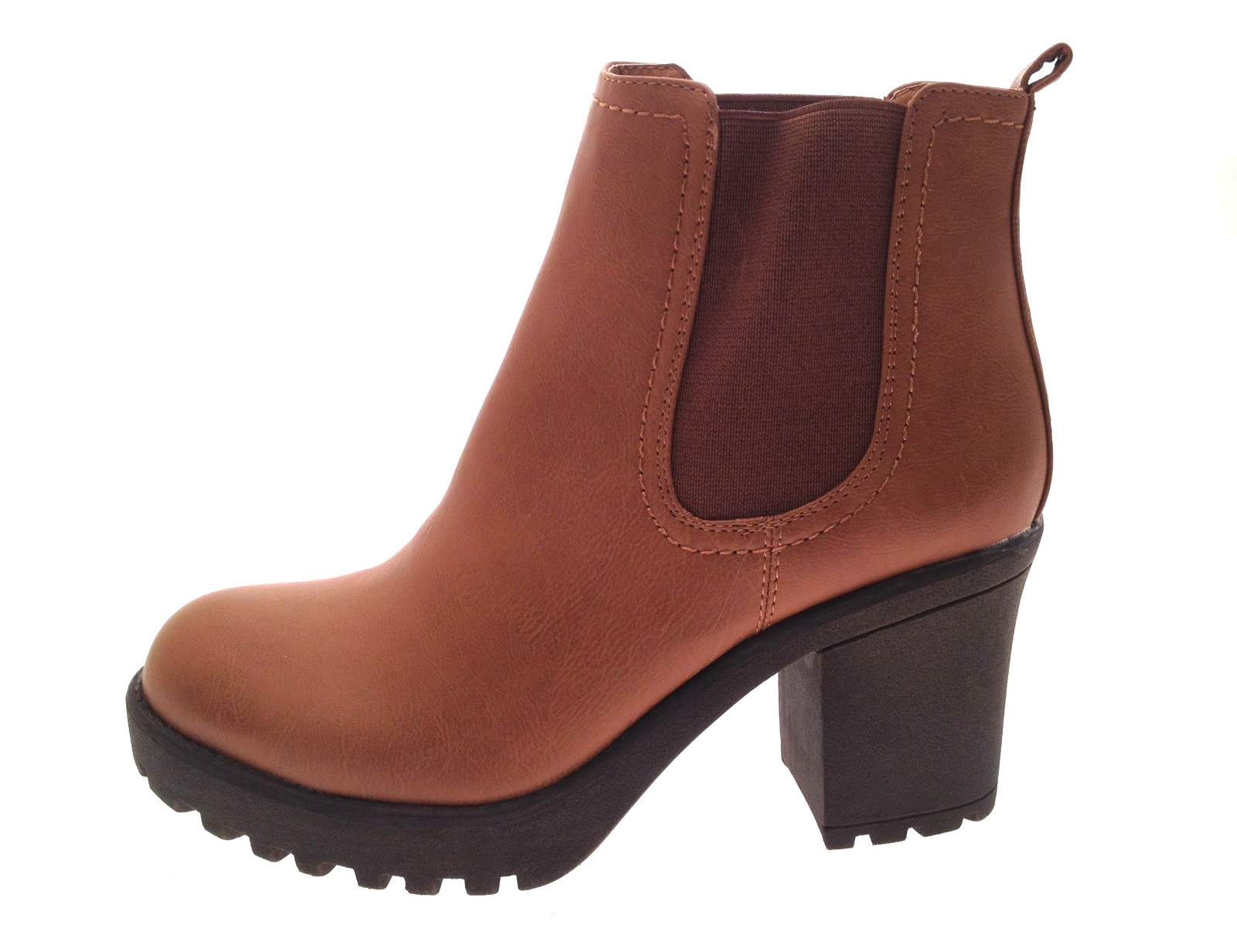 womens mid chunky block heel chelsea low ankle boots platform